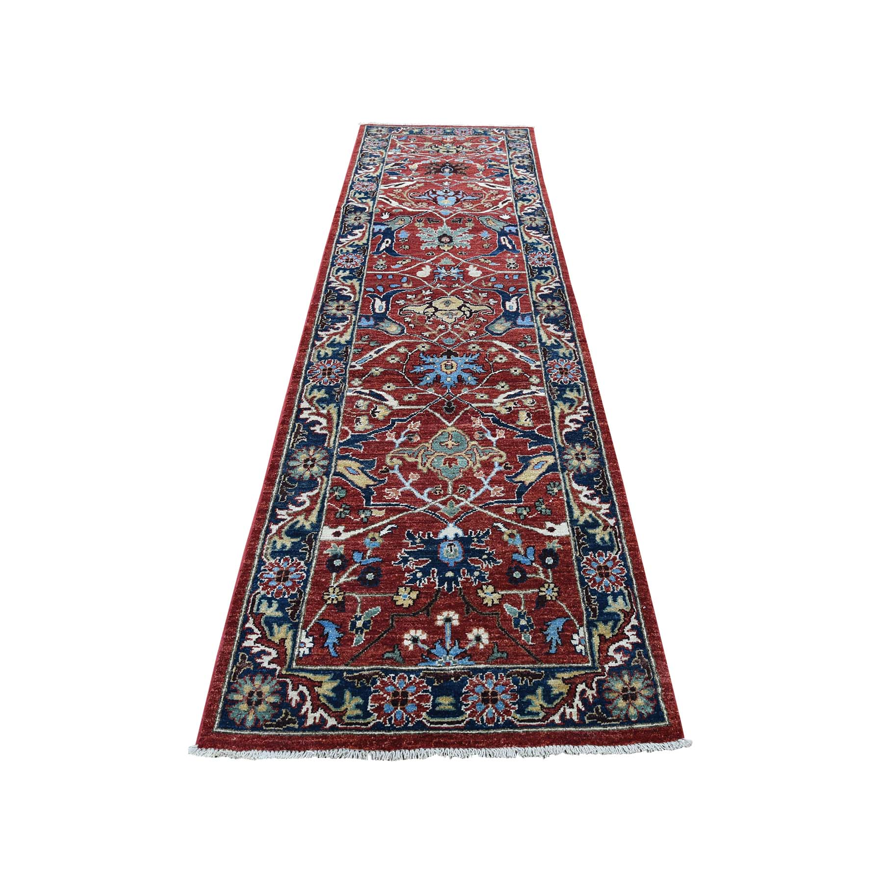 "2'7""X10'  Pure Wool Hand-Knotted Peshawar With Heriz Design Runner Oriental Rug moadbc70"