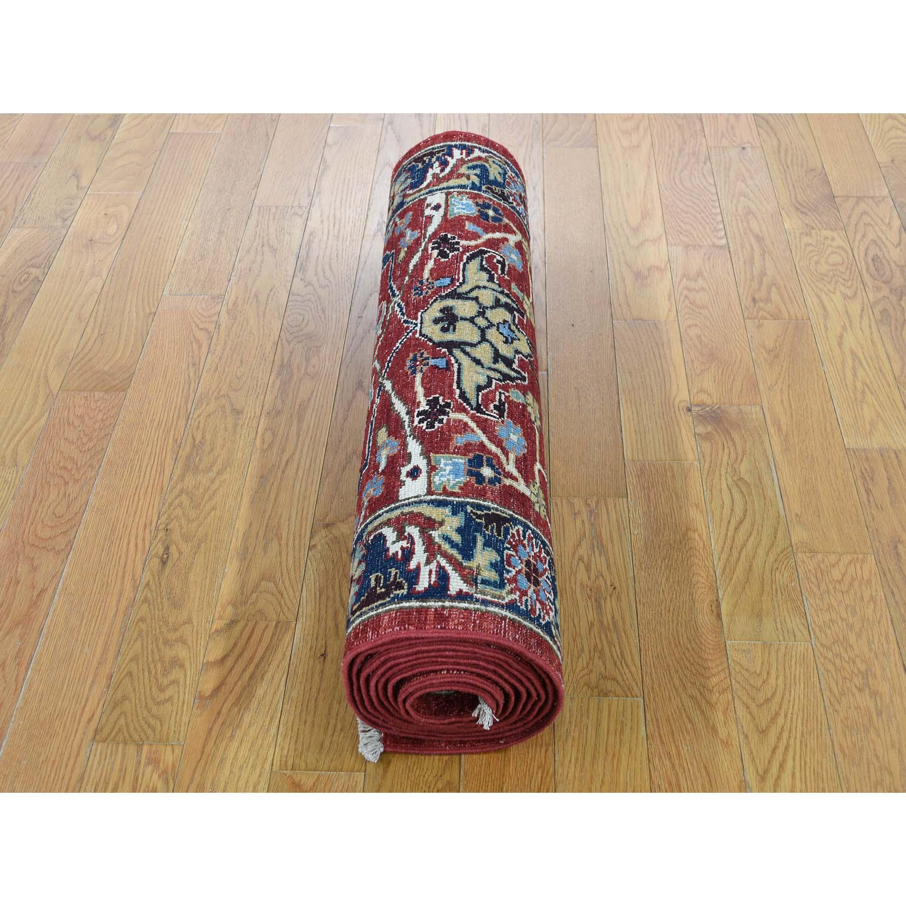2-7 x10-  Pure Wool Hand-Knotted Peshawar With Heriz Design Runner Oriental Rug