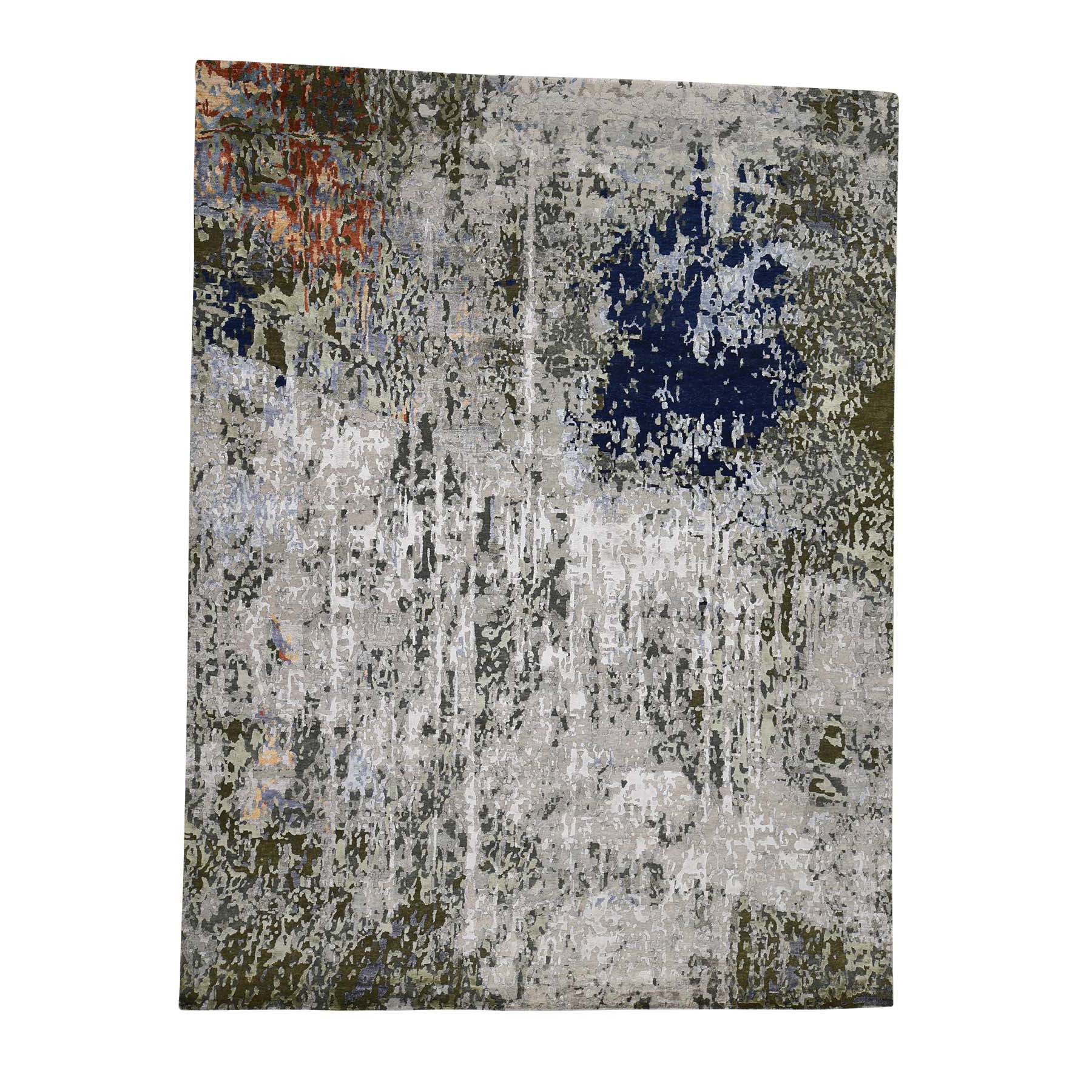 "9'X11'9"" Hi-Low Pile Modern Abstract Design Wool And Silk Hand Knotted Rug moadbda6"