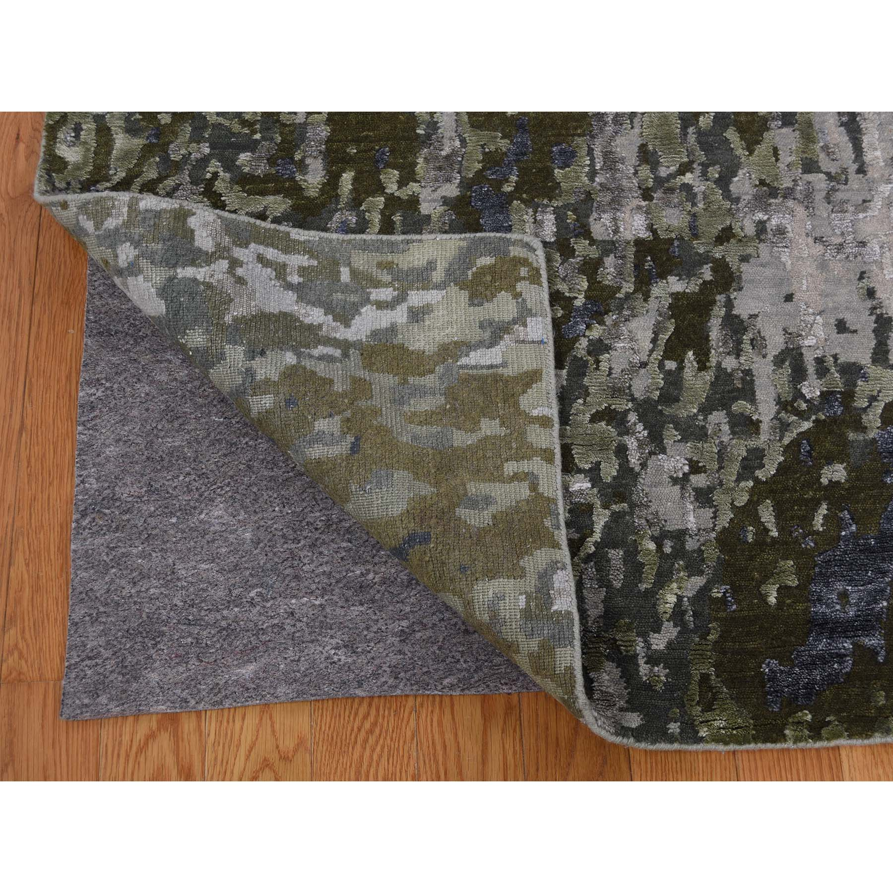 9-x11-9  Hi-Low Pile Modern Abstract Design Wool and Silk Hand Knotted Rug