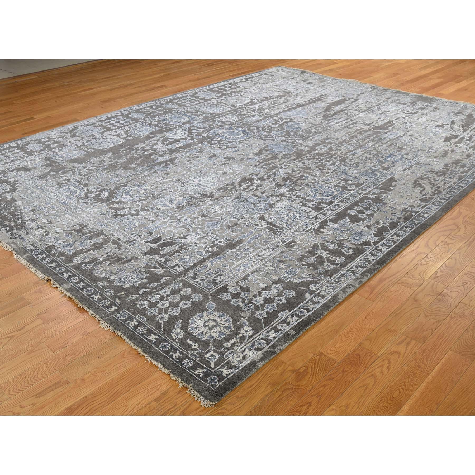 9-2 x11-10  Persian Tabriz Broken Design Wool And Silk Hand-Knotted Oriental Rug