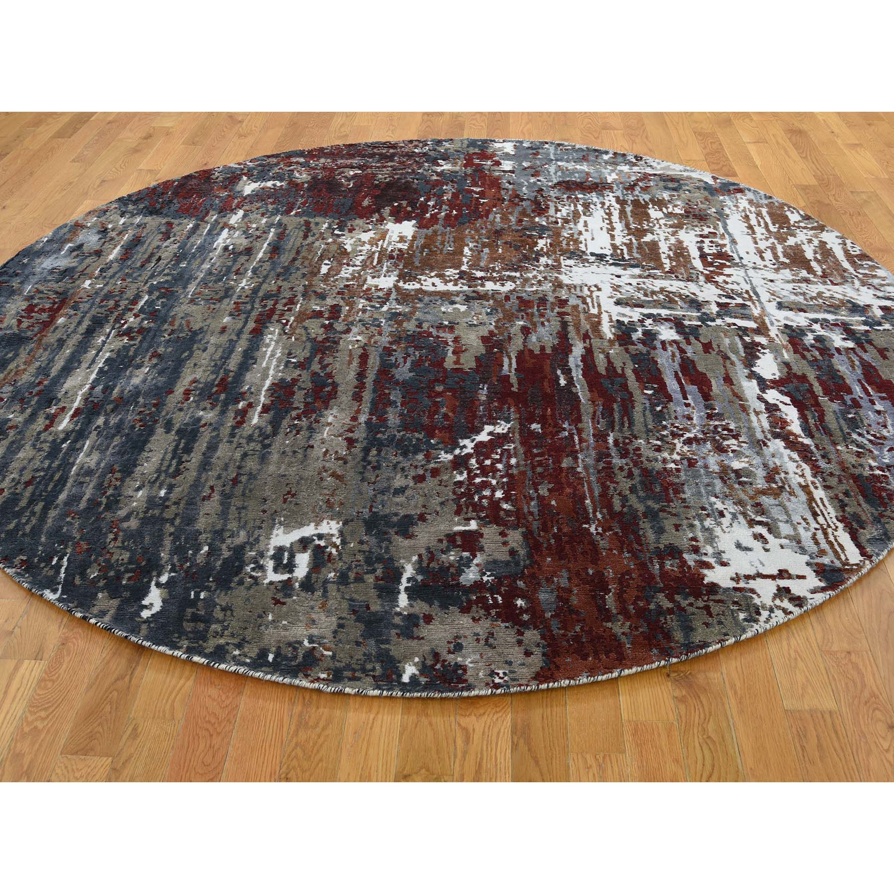 8-x8- Wool And Silk Hi-Low Pile Round Abstract Design Hand-Knotted Oriental Rug