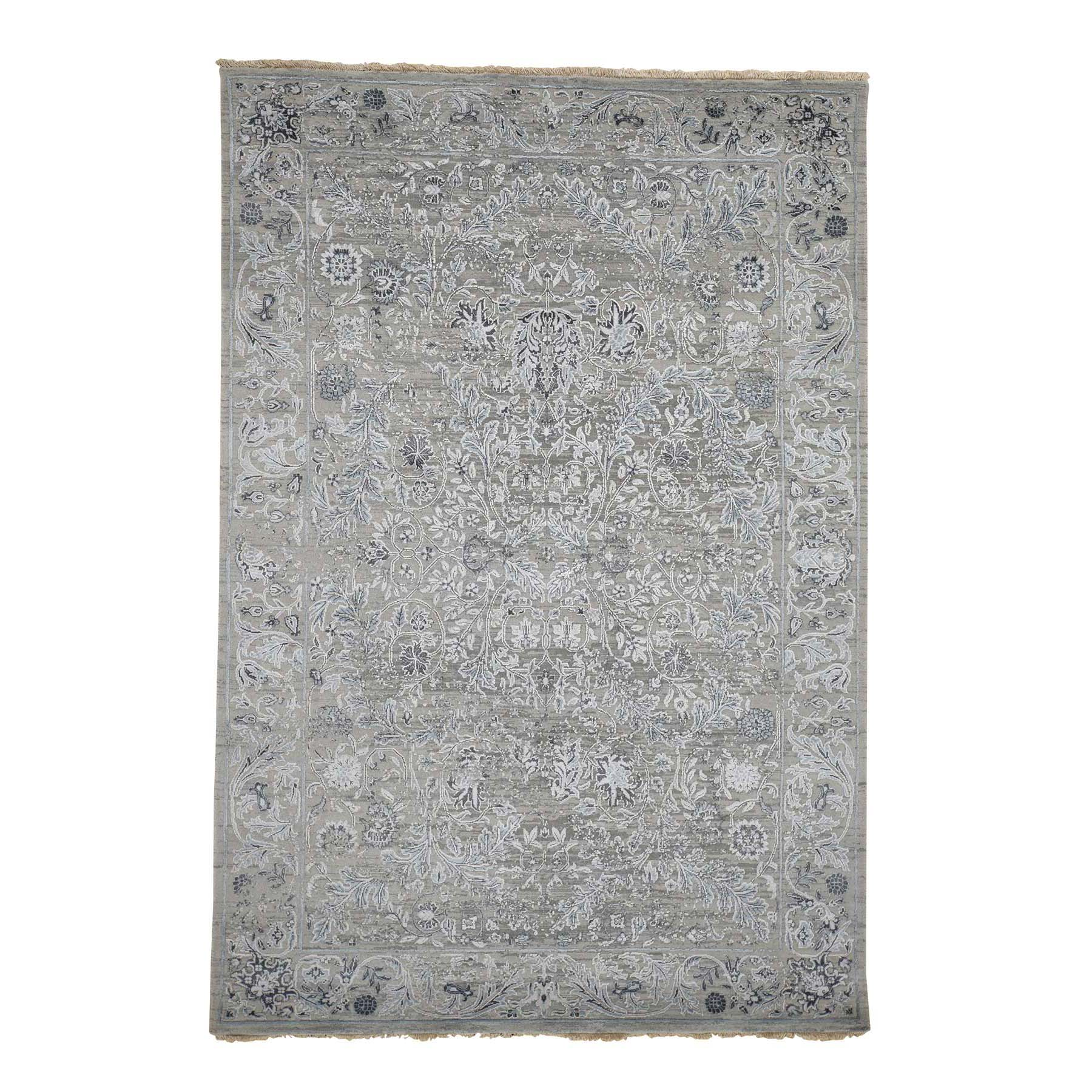 "6'1""X9' Grey Transitional Kashan Design With Wool And Silk Hand Knotted Rug moadbdeb"