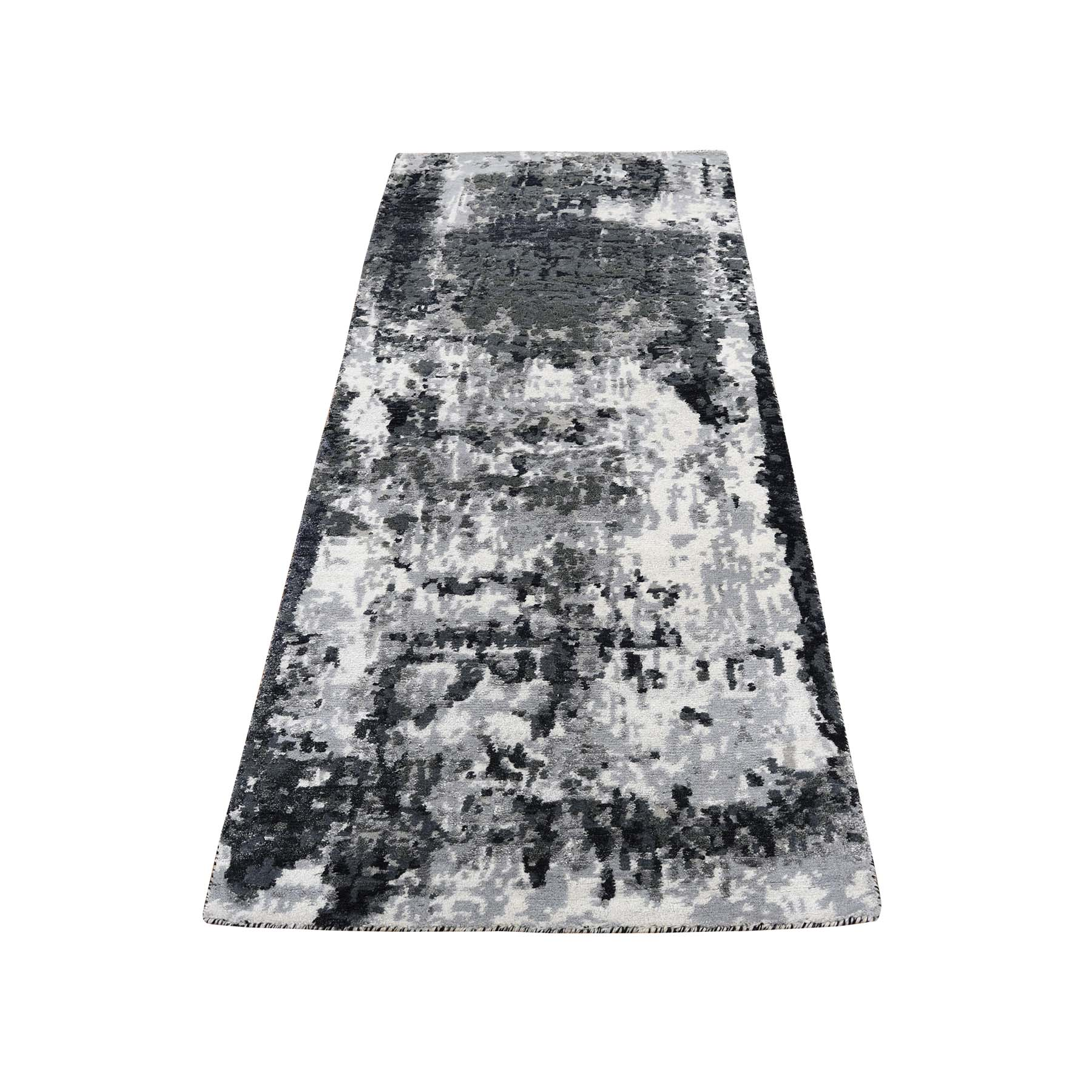 "2'7""X6'2"" Wool And Silk Hi-Low Pile Runner Abstract Design Hand-Knotted Oriental Rug moadbd77"
