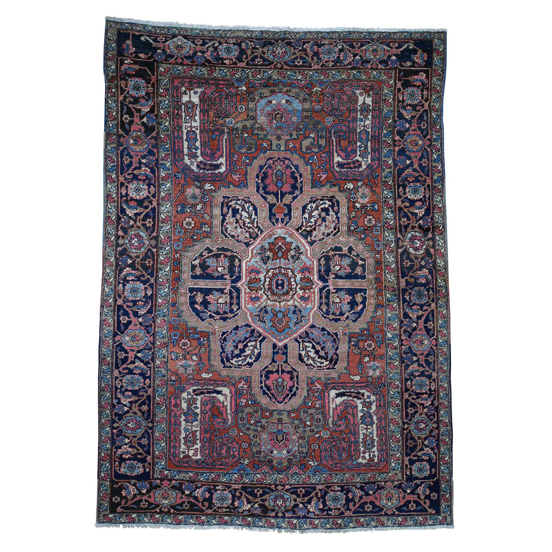 "7'9""X11' Flower Design Antique Persian Heriz Good Condition Hand-Knotted Oriental Rug moadbd9d"