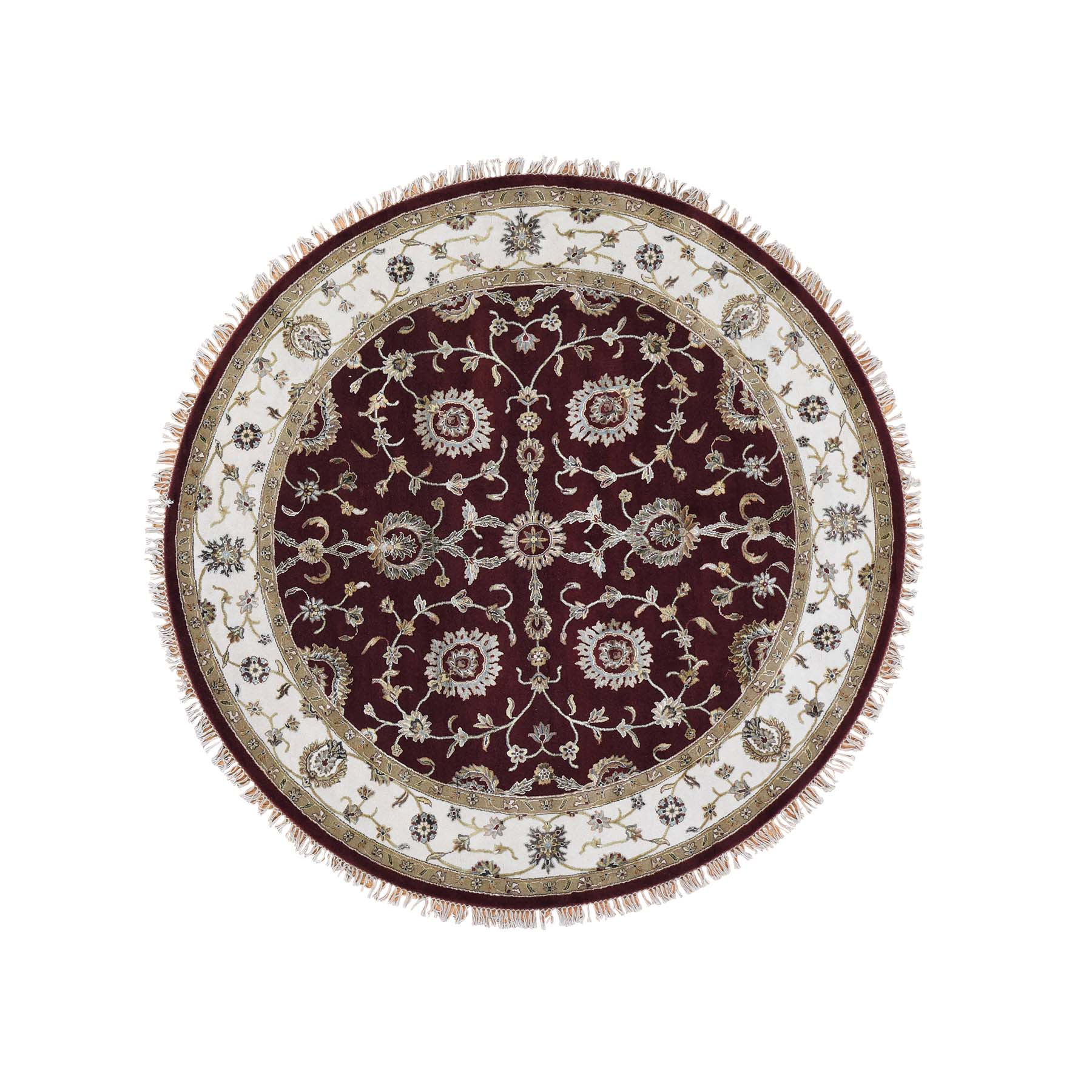 "7'2""X7'2"" Half Wool And Half Silk Burgundy Rajasthan Round Hand-Knotted Oriental Rug moadbd97"