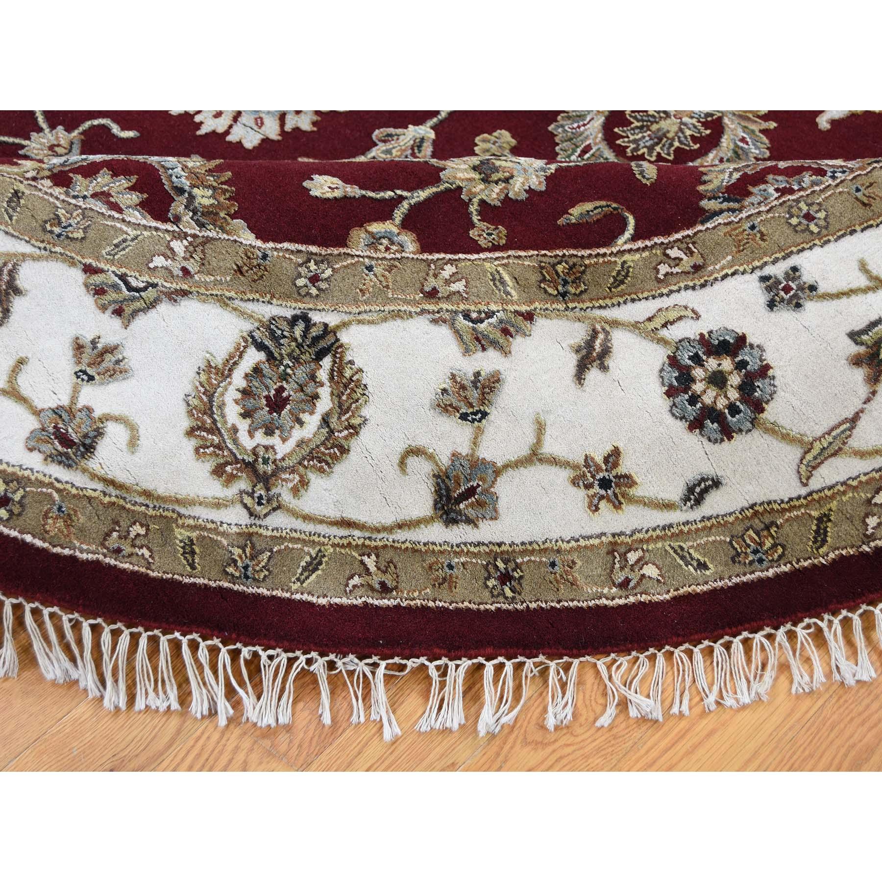 7-2 x7-2  Half Wool and Half Silk Burgundy Rajasthan Round Hand-Knotted Oriental Rug