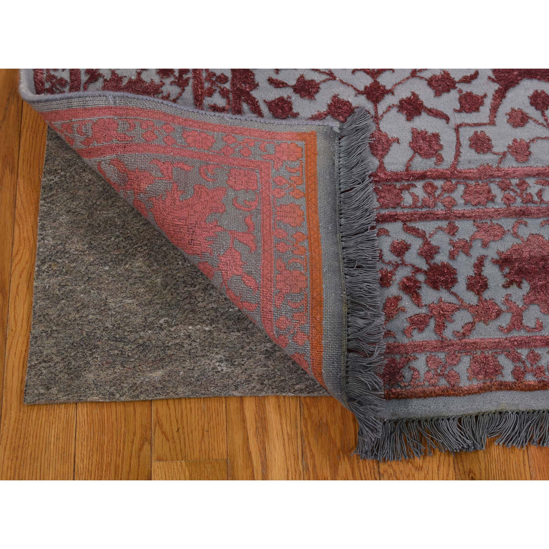 5-9 x9- Kashan Dense Weave Wool And Silk Hand-Knotted Pure Wool Rug