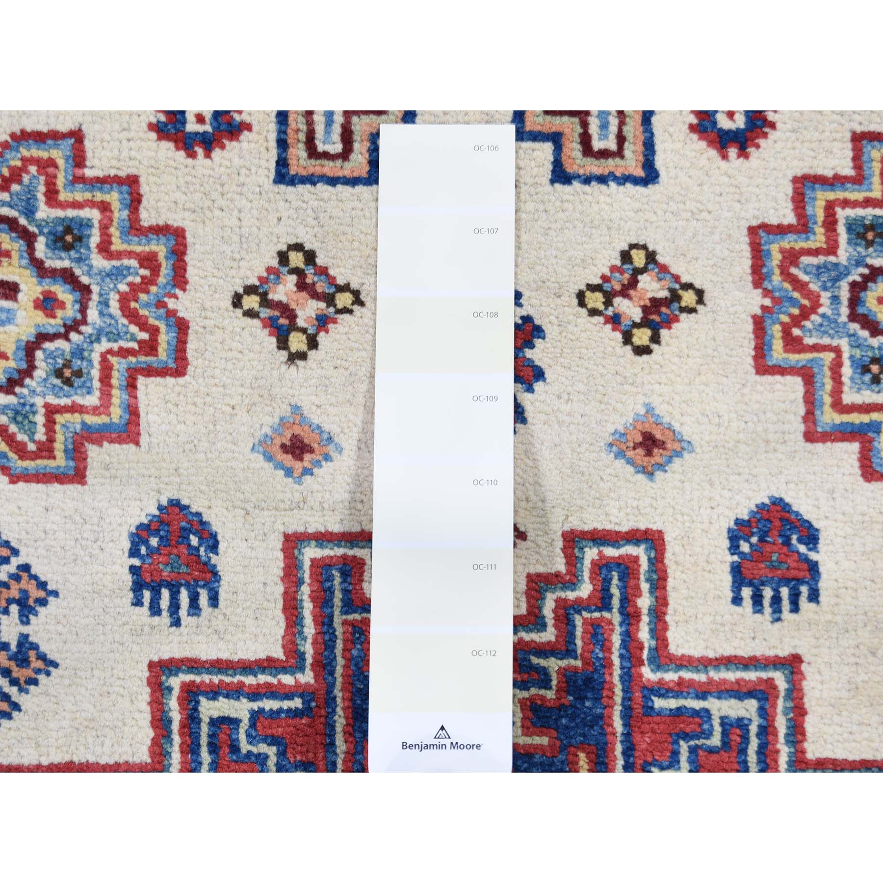 2-9 x8-7  Special Kazak Pure Wool Runner Hand-Knotted Geometric Design Oriental Rug