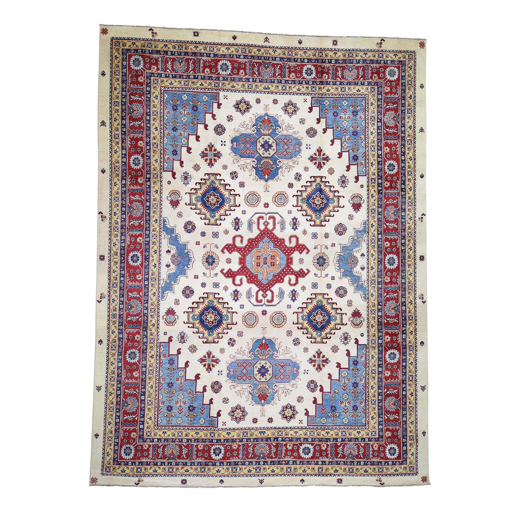 10-x13-3  Special Kazak Pure Wool Hand-Knotted Geometric Design Oriental Rug