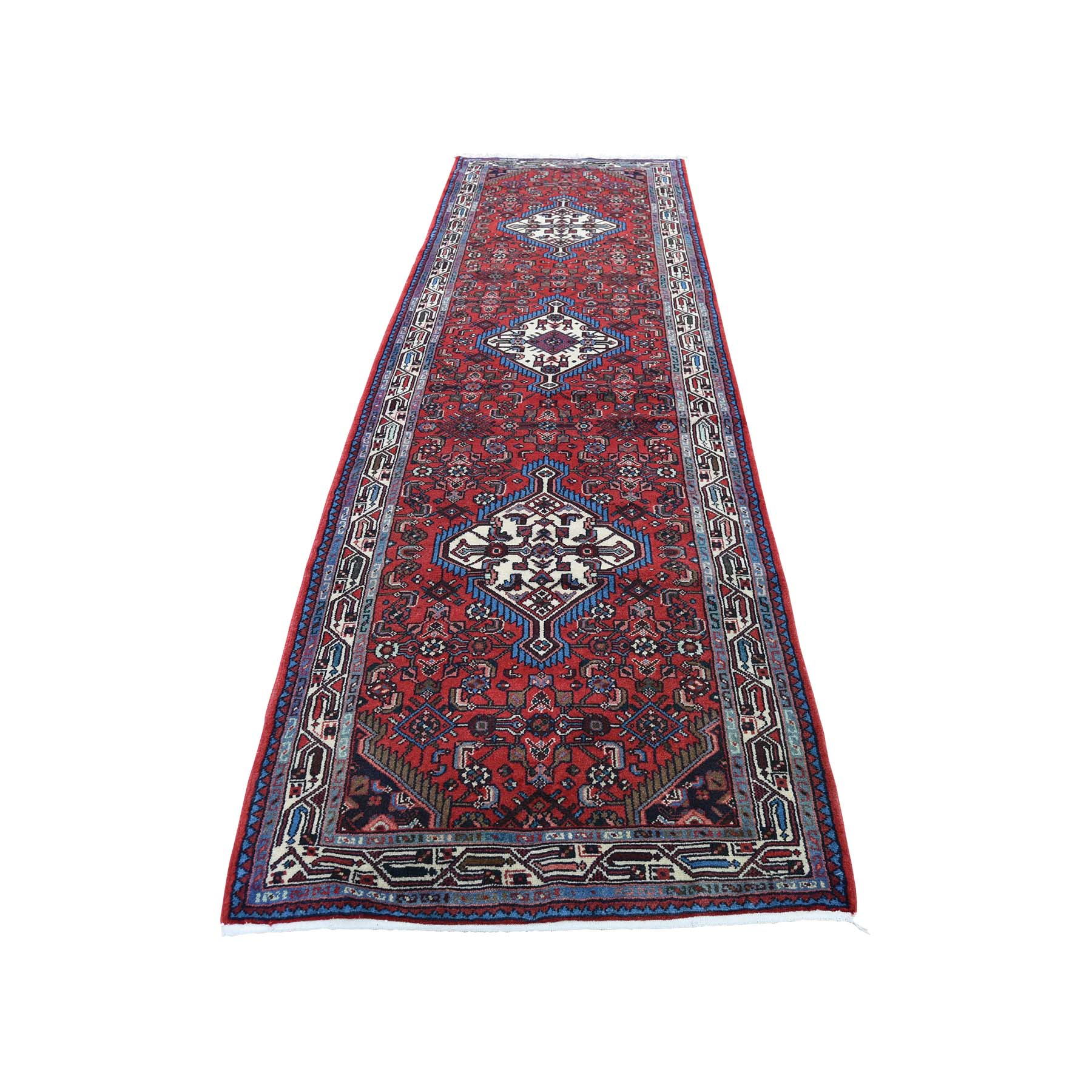 "2'10""X10'1"" Pure Wool Hand-Knotted New Persian Hamadan Runner Oriental Rug moadbe79"
