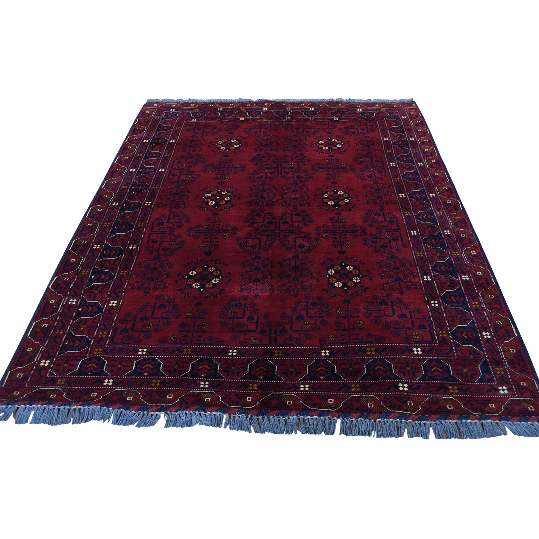 "5'X6'6"" Pure Wool Red Afghan Qunduz Hand-Knotted Oriental Rug moadb6aa"