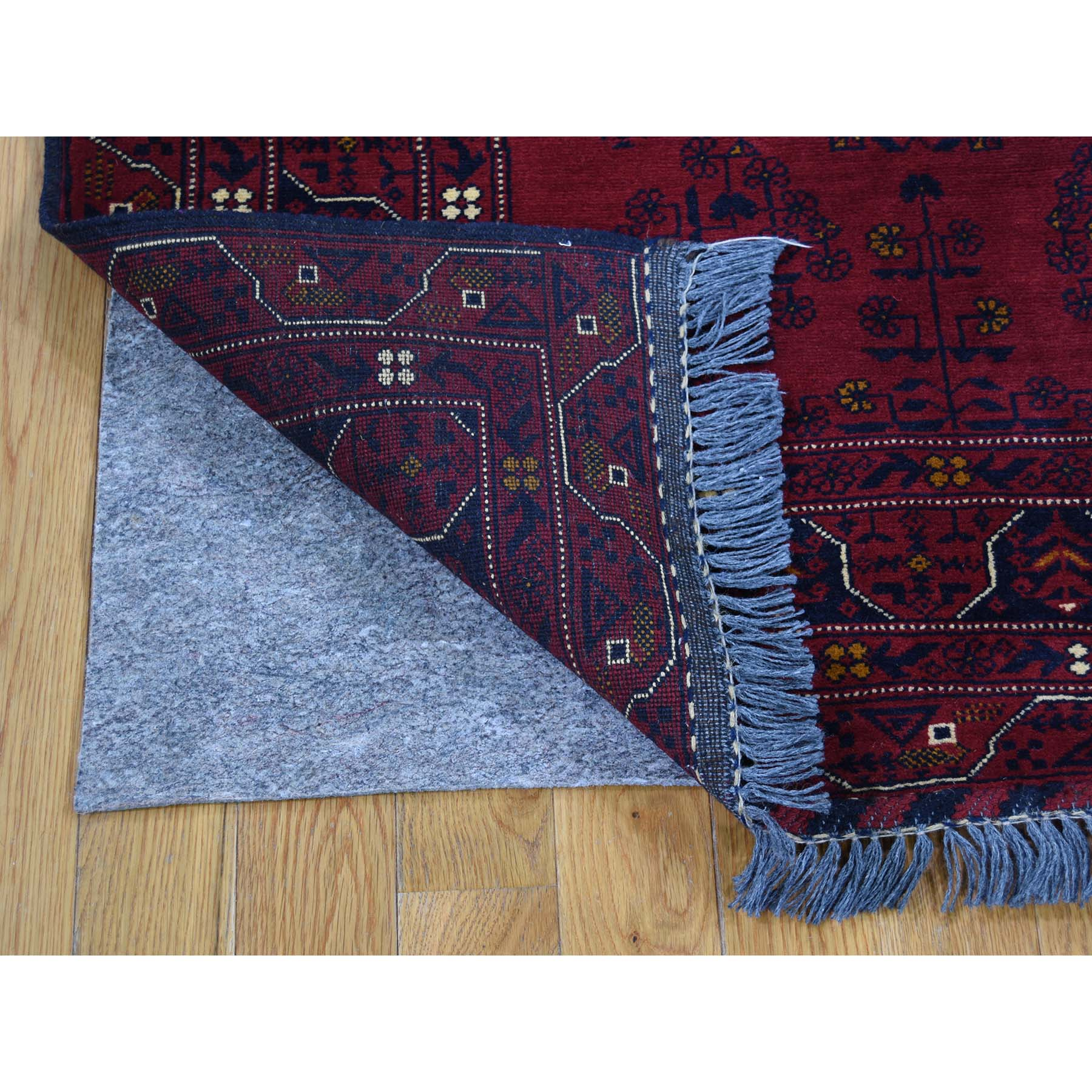 5-x6-6  Pure Wool Red Afghan Qunduz Hand-Knotted Oriental Rug