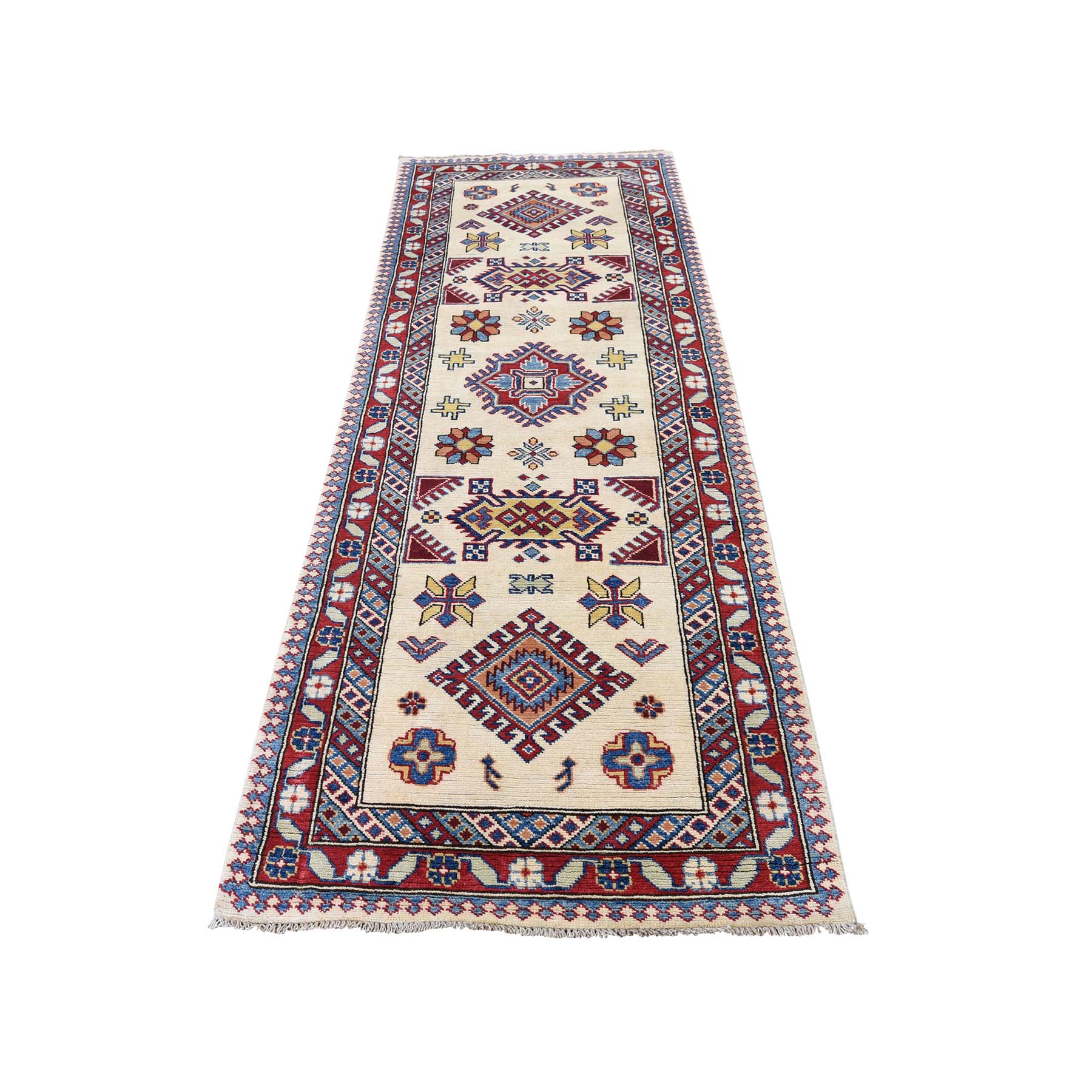 "2'8""X7'7"" Special Kazak Pure Wool Runner Hand-Knotted Geometric Design Oriental Rug moadb6a6"