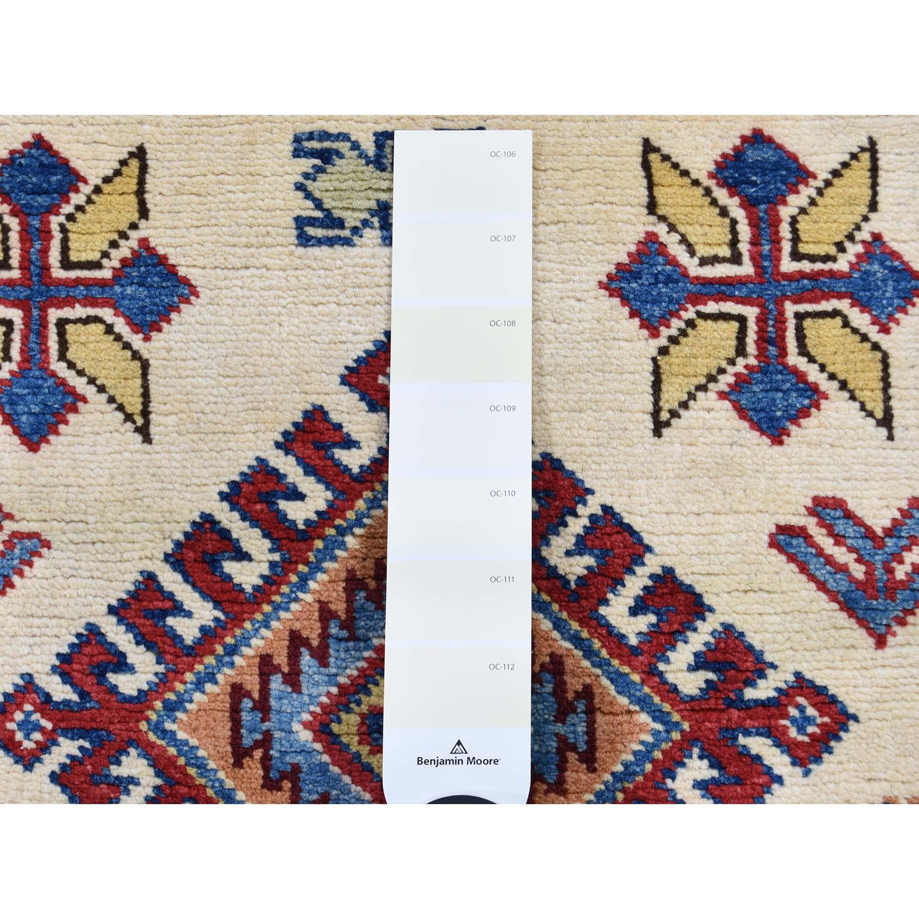 2-8 x7-7  Special Kazak Pure Wool Runner Hand-Knotted Geometric Design Oriental Rug