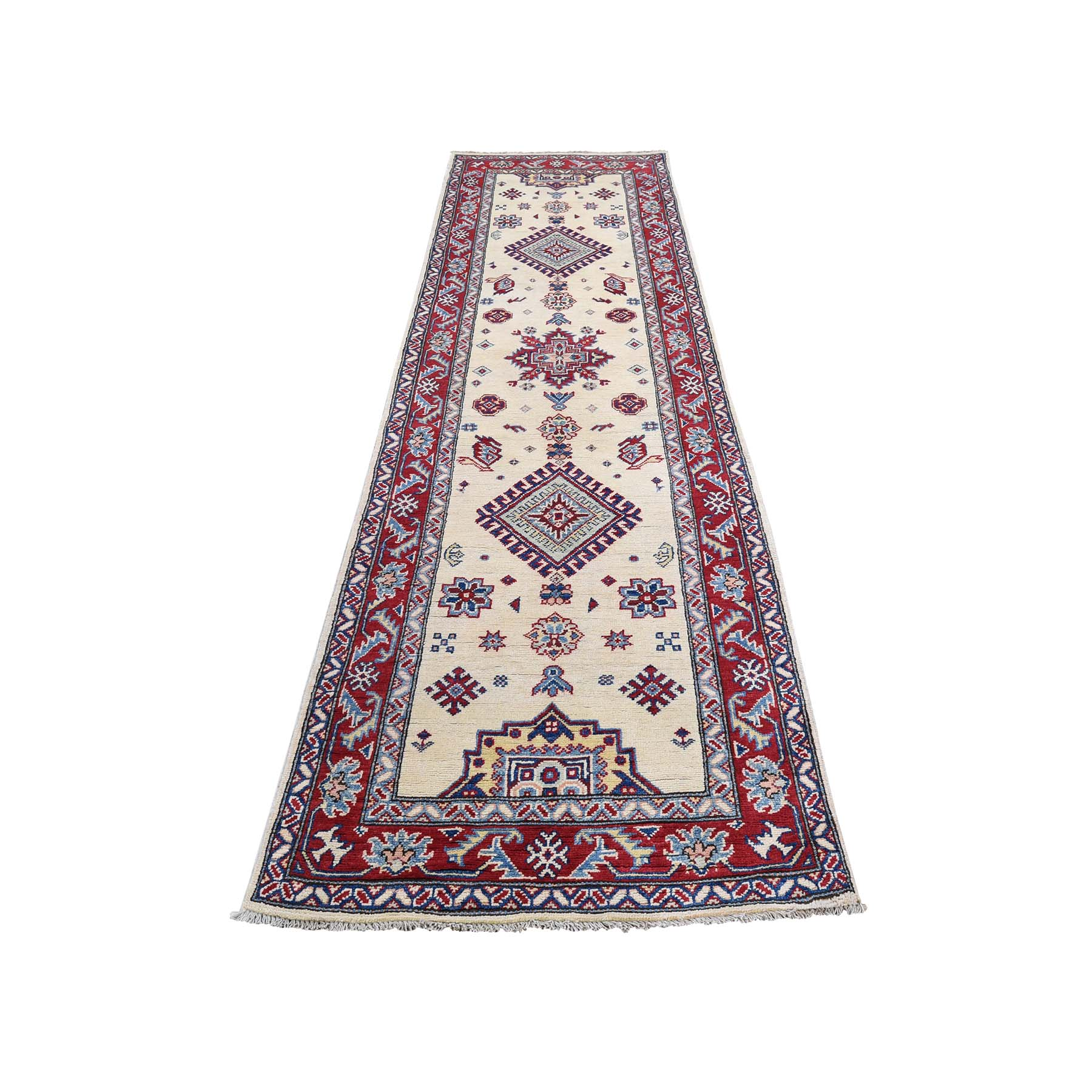 "2'9""X9'9"" Special Kazak Pure Wool Runner Hand-Knotted Geometric Design Oriental Rug moadb6a7"
