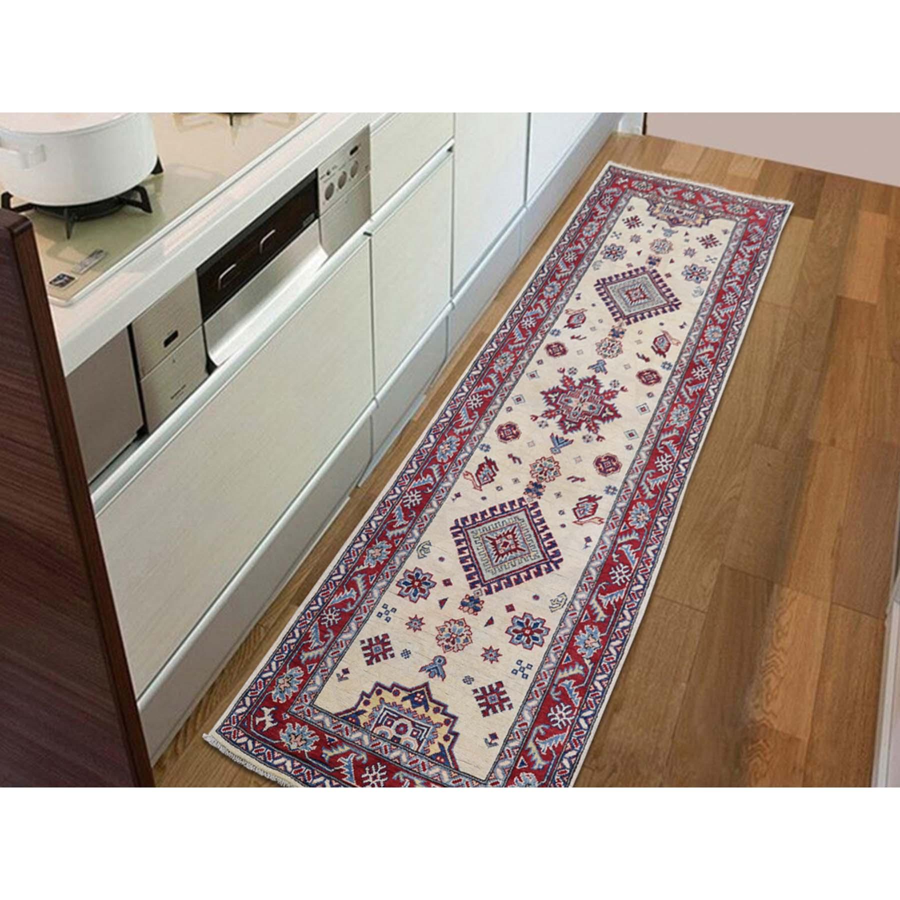 2-9 x9-9  Special Kazak Pure Wool Runner Hand-Knotted Geometric Design Oriental Rug