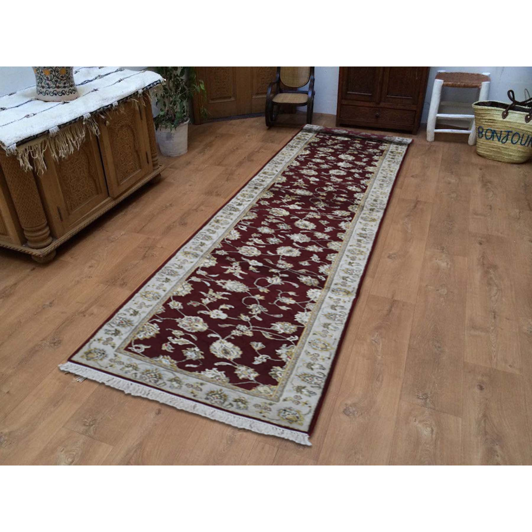 2-7 x14- Rajasthan Half Wool Half and Silk Hand-Knotted Runner Oriental Rug