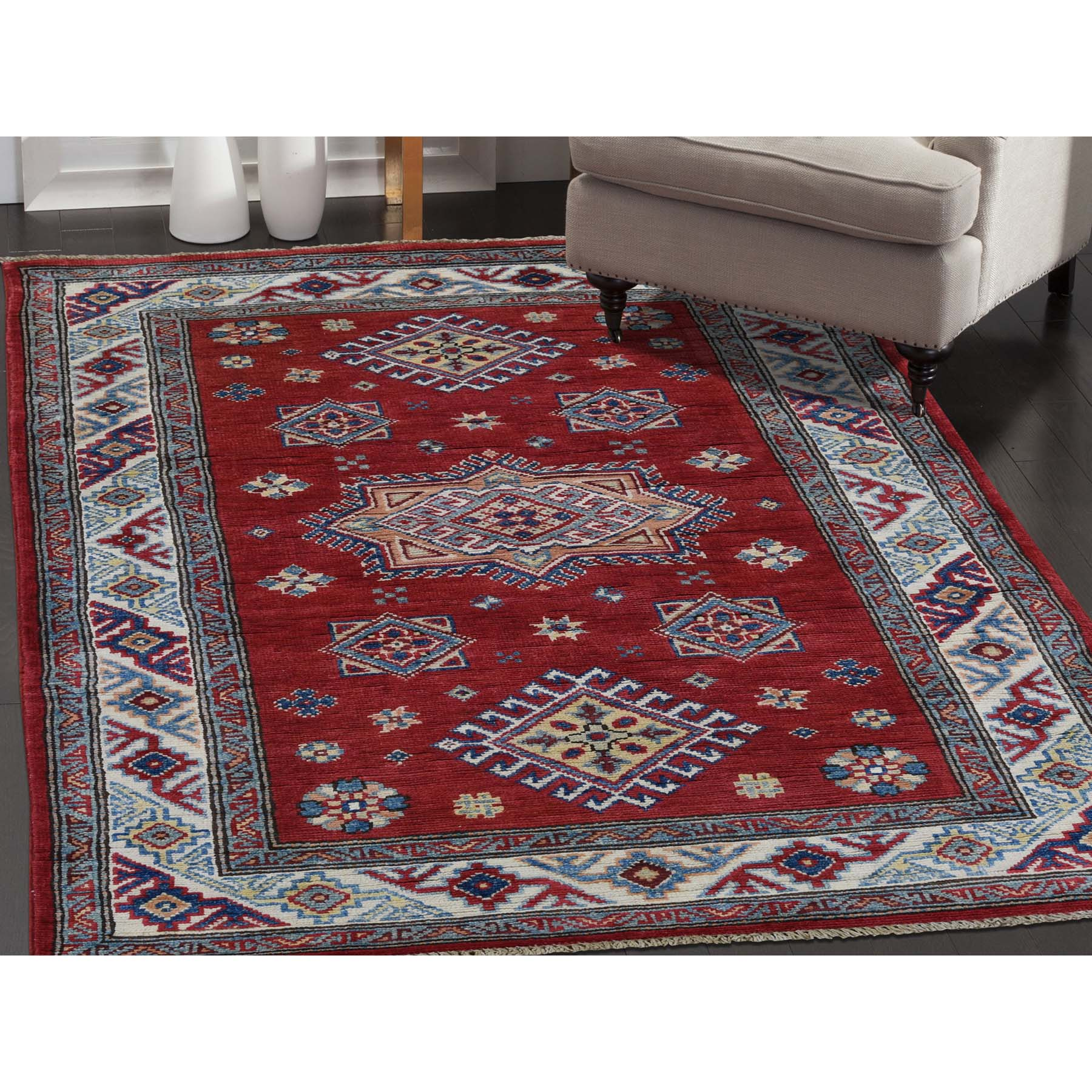 3-x4-10  Special Kazak Pure Wool Hand-Knotted Geometric Design Oriental Rug