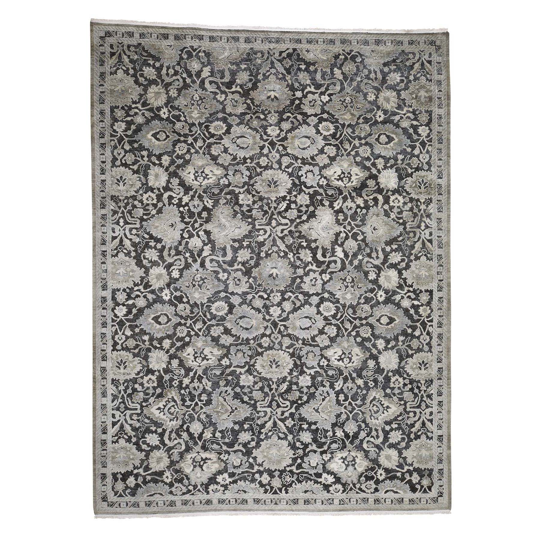 "9'X12'1"" Pure Silk With Oxidized Wool Oushak Influence Hand-Knotted Oriental Rug moadb7a6"