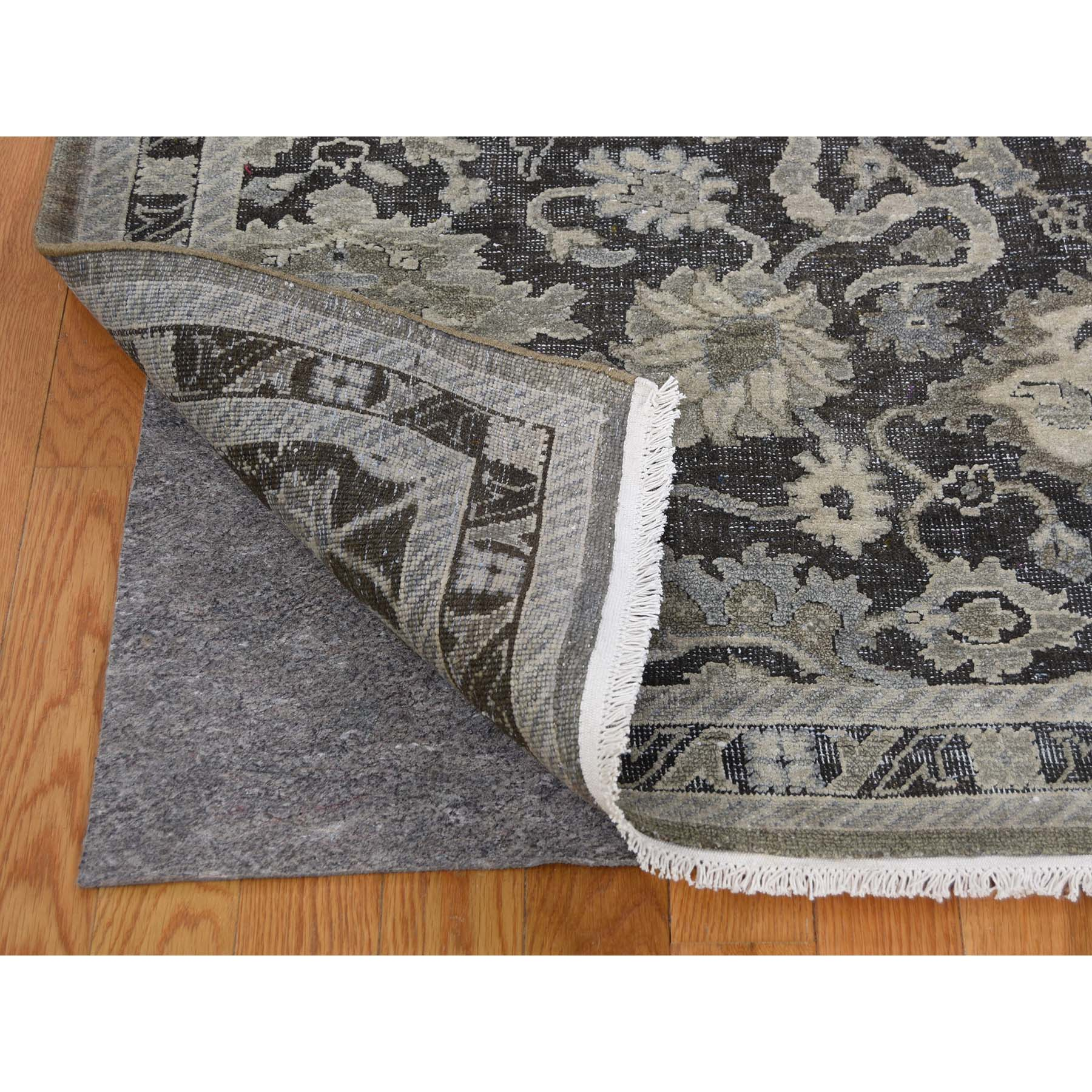 9-x12-1  Pure Silk With Oxidized Wool Oushak Influence Hand-Knotted Oriental Rug