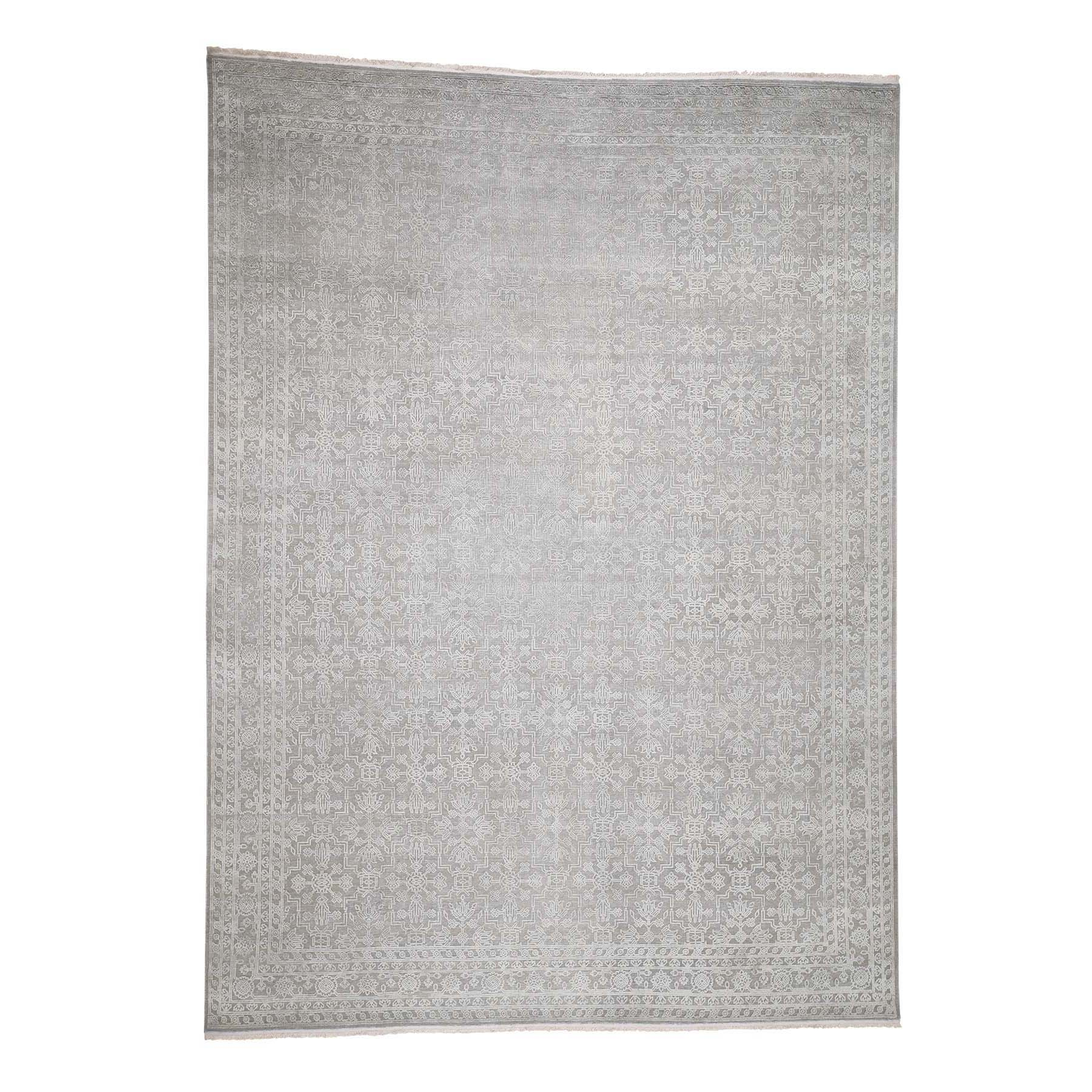 "8'10""X12' Tone On Tone Silk With Oxidized Wool Hand-Knotted Oriental Rug moadb7a7"