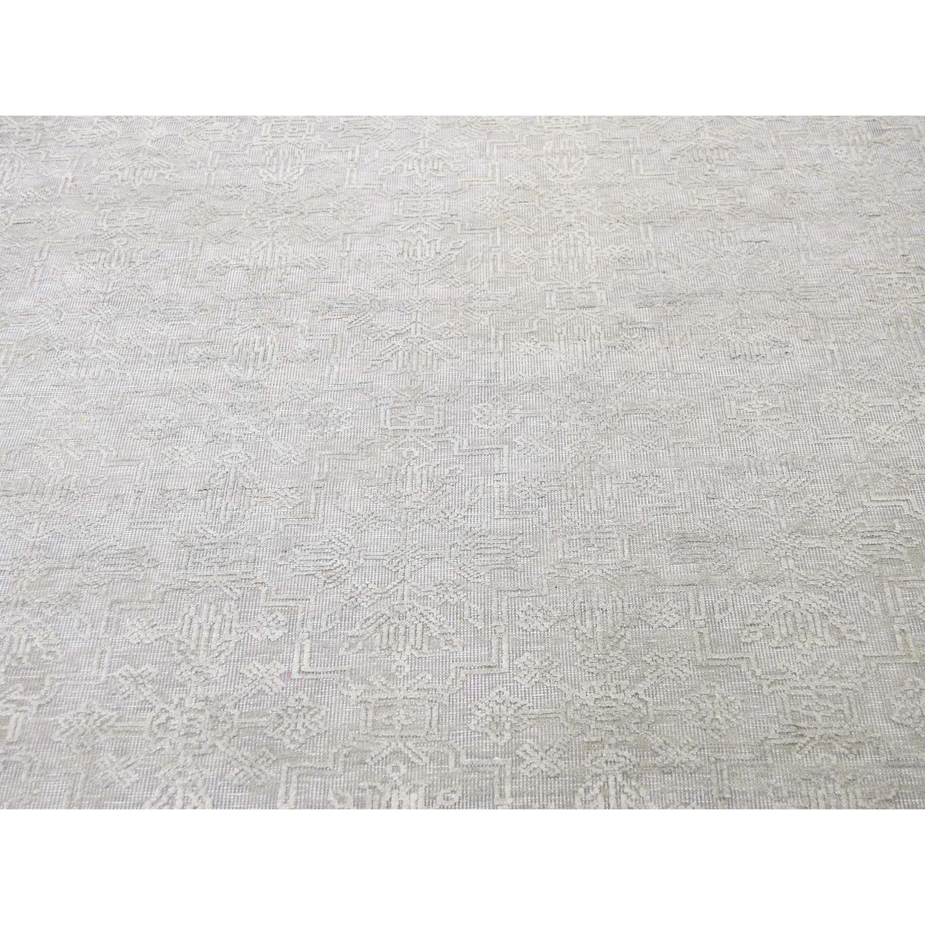 8-10 x12- Tone on Tone Silk with Oxidized Wool Hand-Knotted Oriental Rug