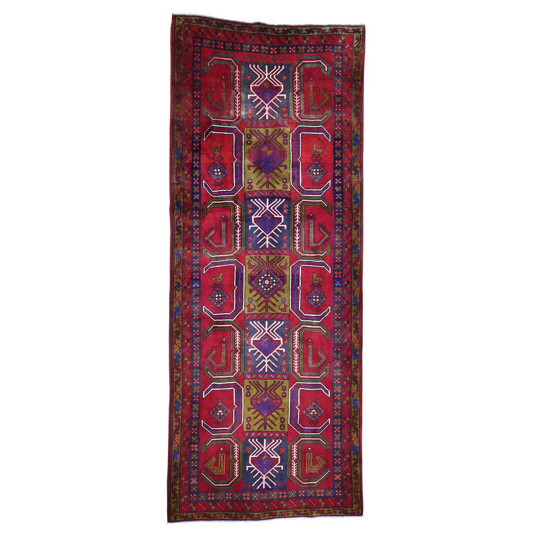 "5'X12'5"" Semi Antique Northeast Pure Wool Wide Gallery Runner Hand-Knotted Oriental Rug moadb78a"