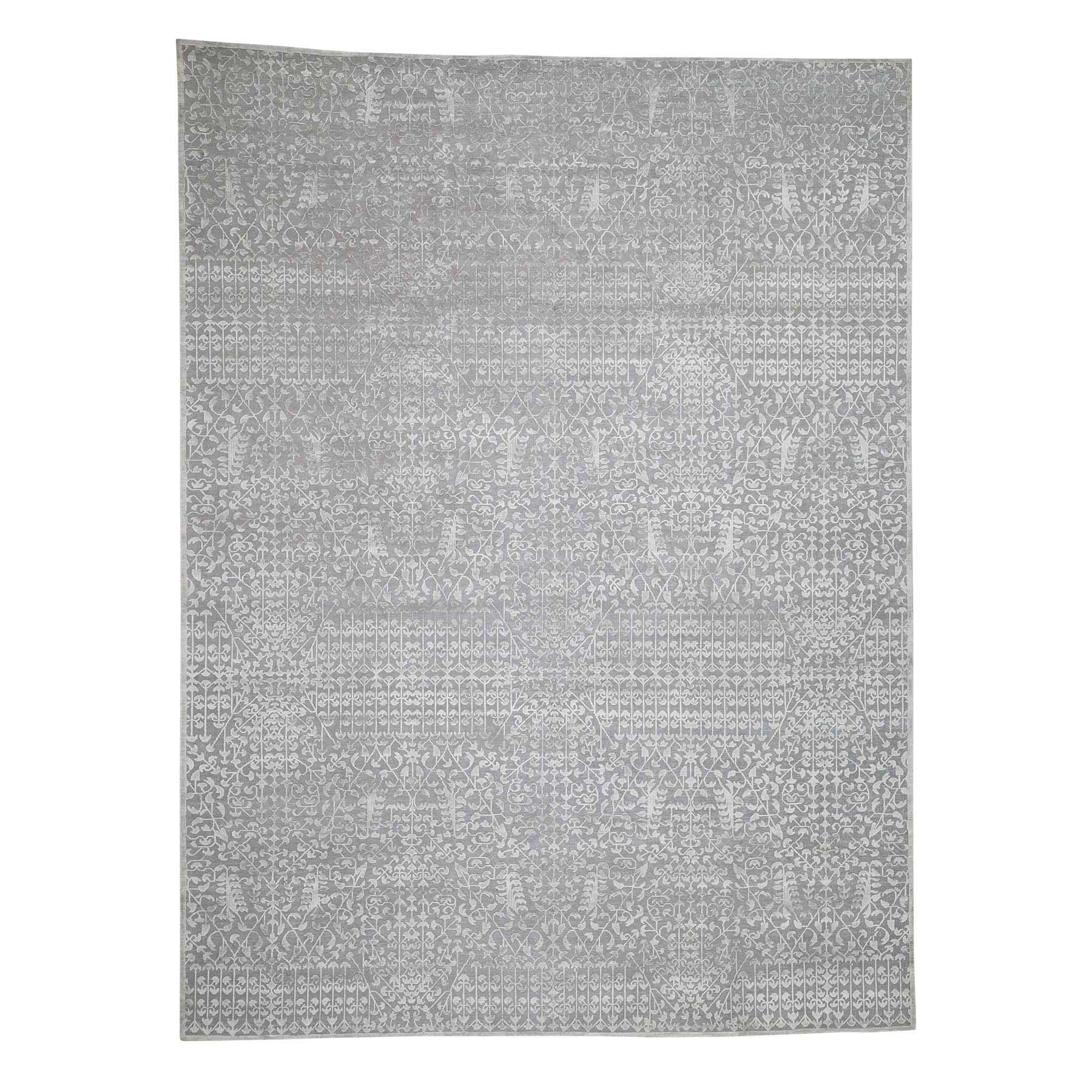 "9'X12'1"" Tone On Tone Silk With Oxidized Wool Hand-Knotted Oriental Rug moadb8ae"
