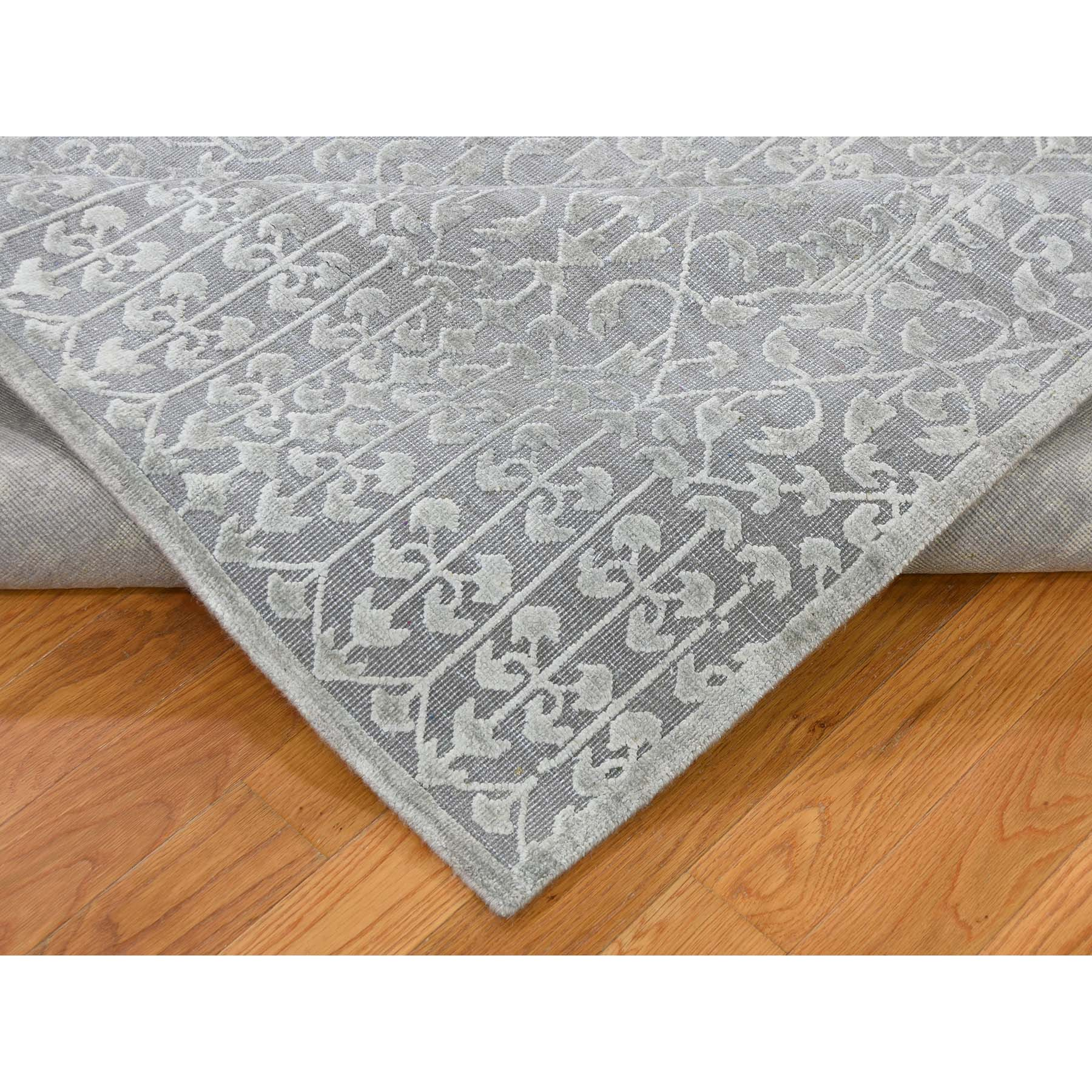 9-x12-1  Tone on Tone Silk with Oxidized Wool Hand-Knotted Oriental Rug
