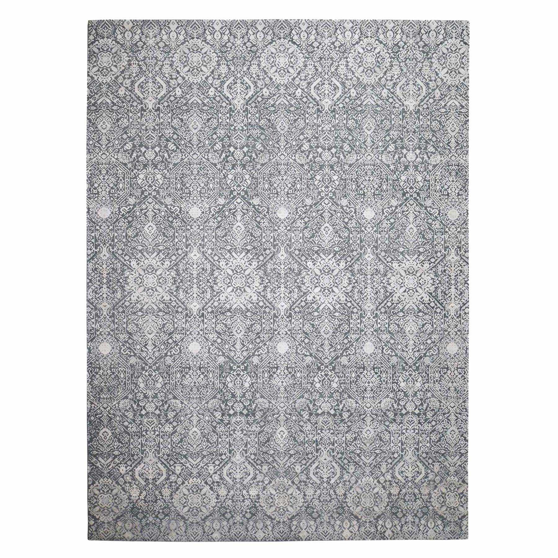 "9'X12'2"" Tone On Tone Silk With Oxidized Textured Wool Transitional Hand-Knotted Oriental Rug moadb8a9"