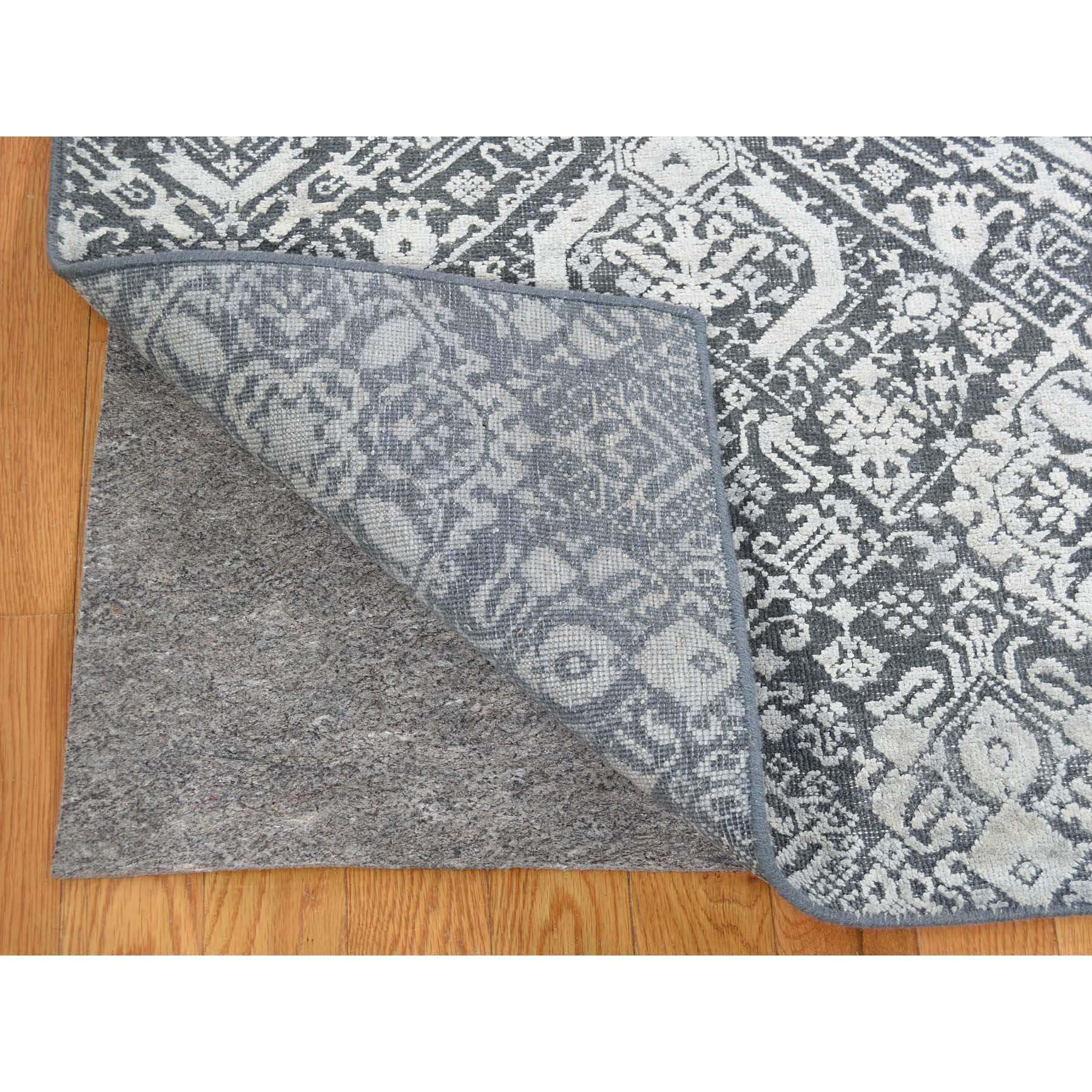 9-x12-2  Tone On Tone Silk With Oxidized Textured Wool Transitional Hand-Knotted Oriental Rug