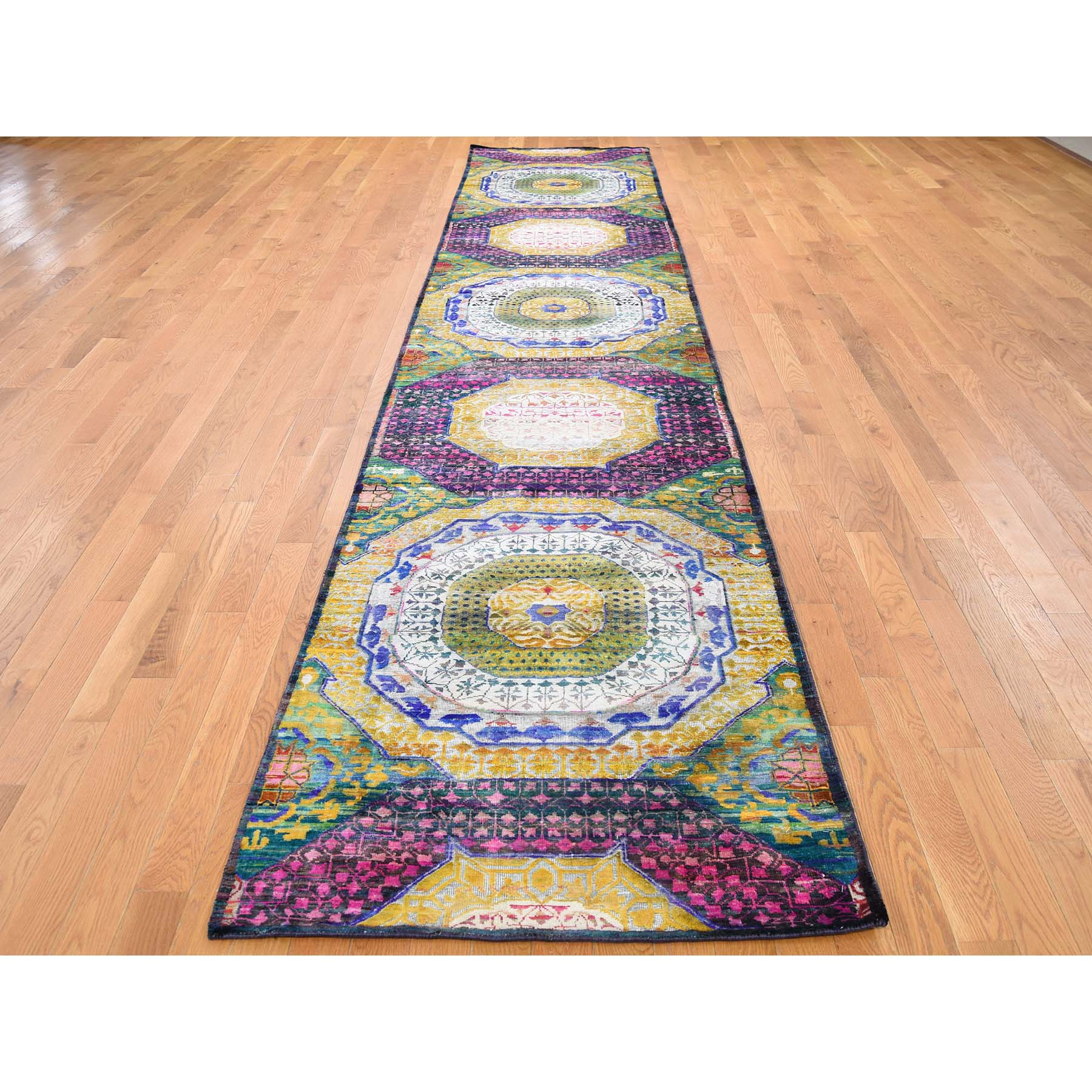 3-x16- Sari Silk With Oxidized Wool Mamluk Design XL Runner Hand-Knotted Oriental Rug