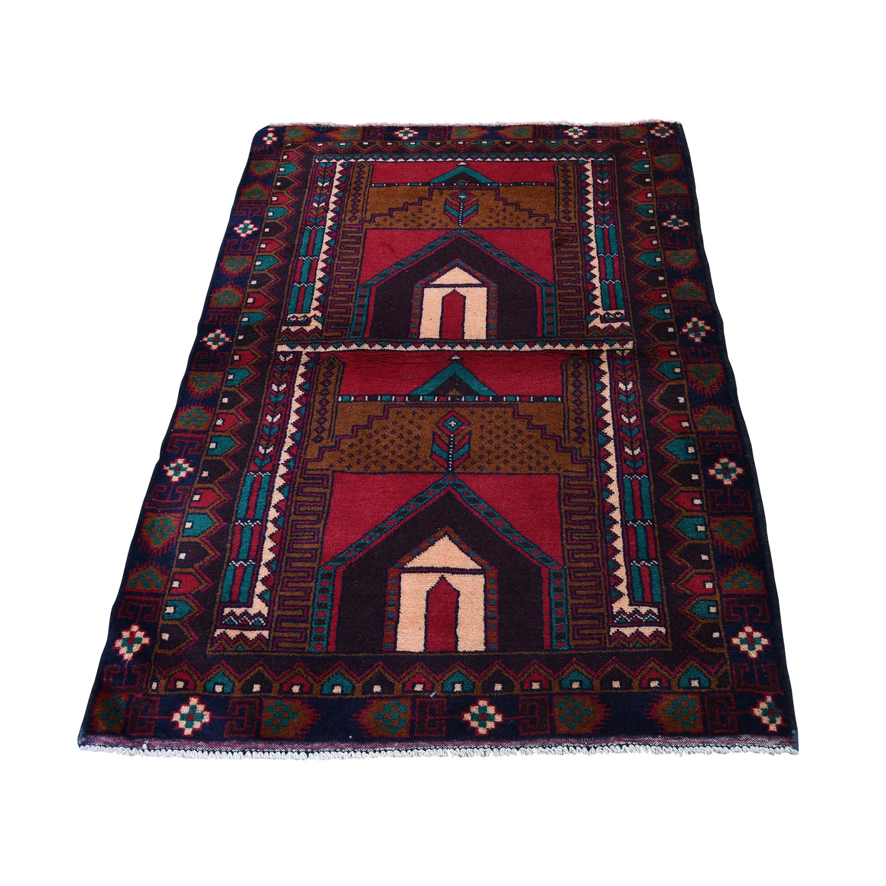"3'X4'6"" Pure Wool Hand-Knotted Vintage Afghan Baluch Oriental Rug moadb8db"