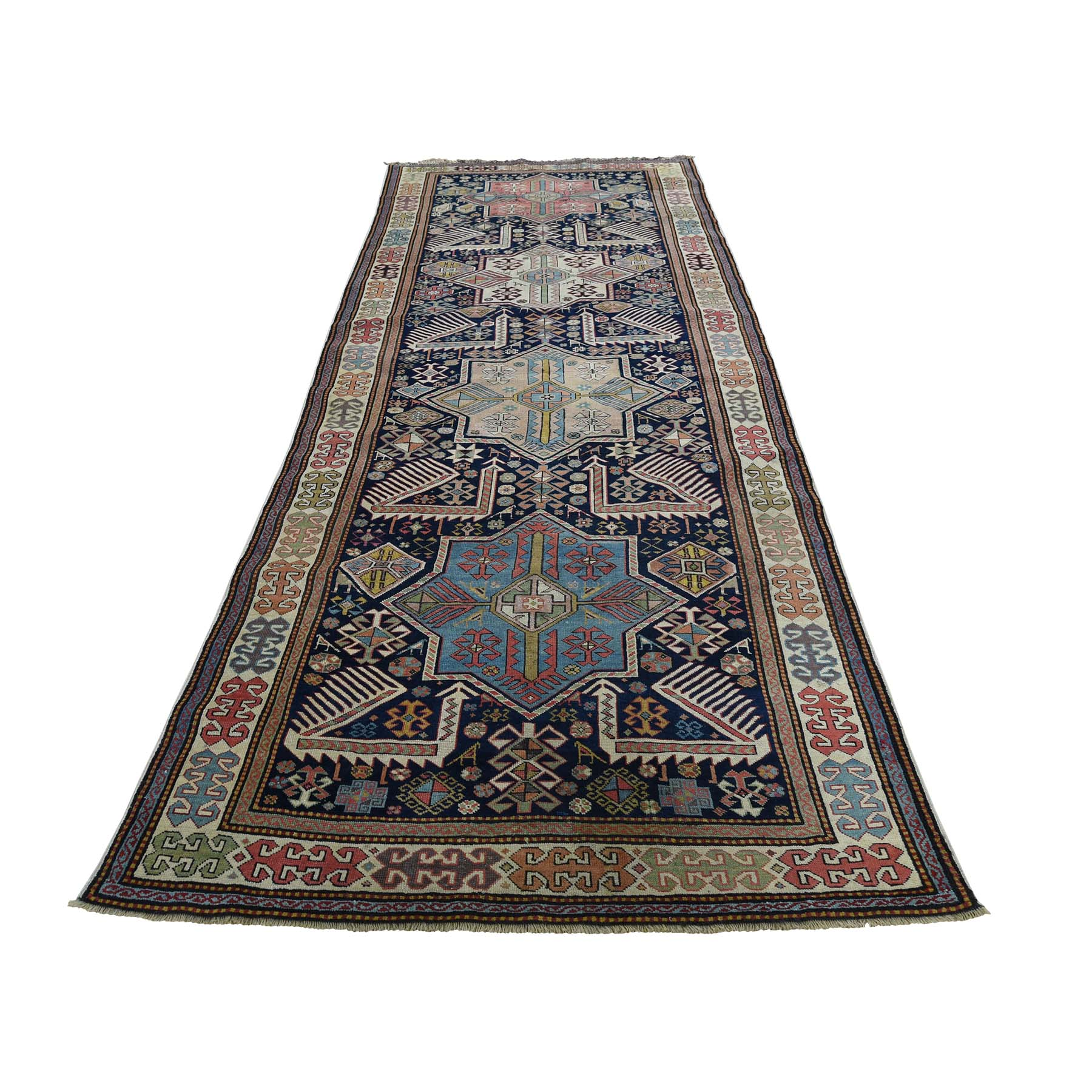 "4'X10'4"" Akstafa Design Antique Caucasian Wide Runner Hand-Knotted Pure Wool Oriental Rug moadb866"