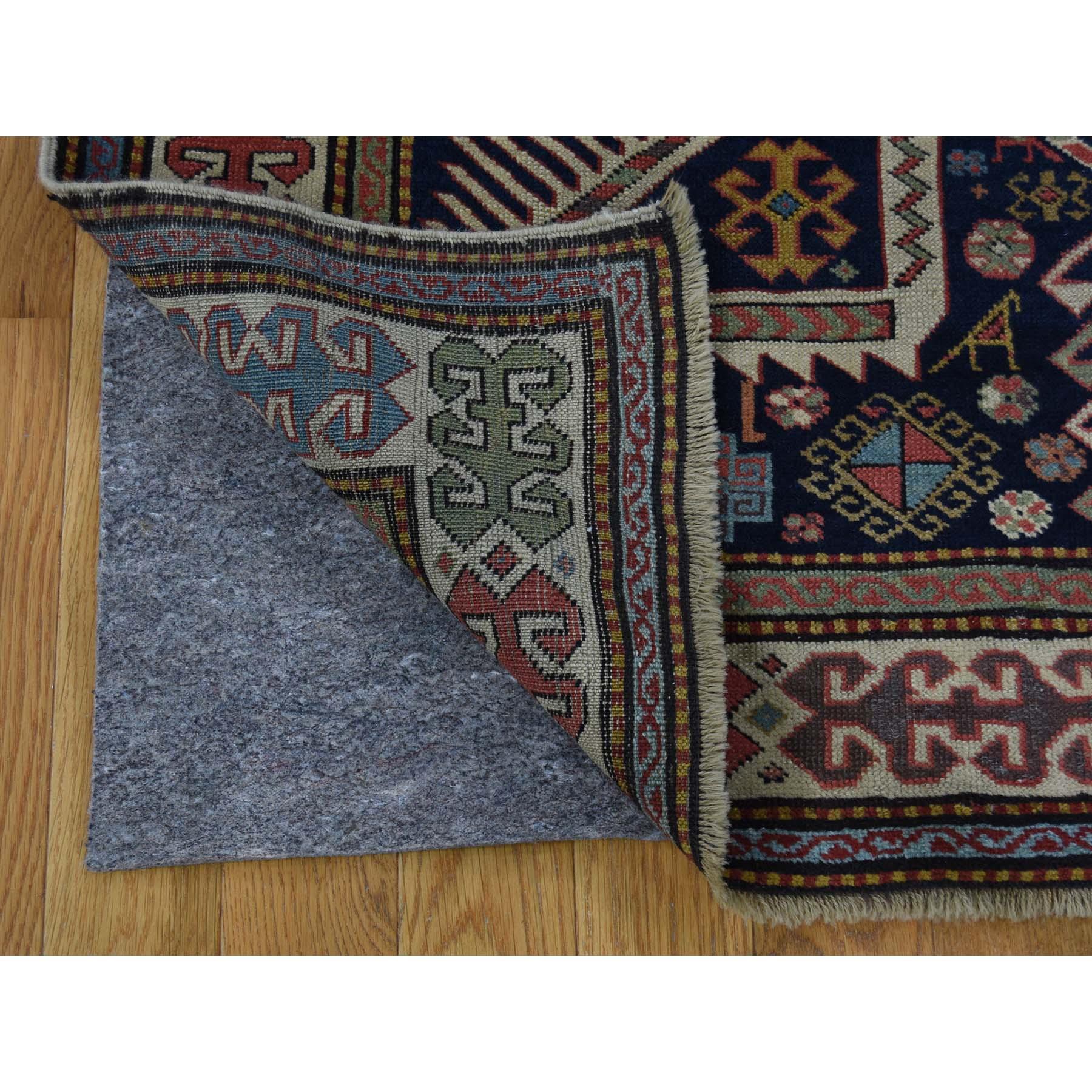 4-x10-4  Akstafa Design Antique Caucasian Wide Runner Hand-Knotted Pure Wool Oriental Rug