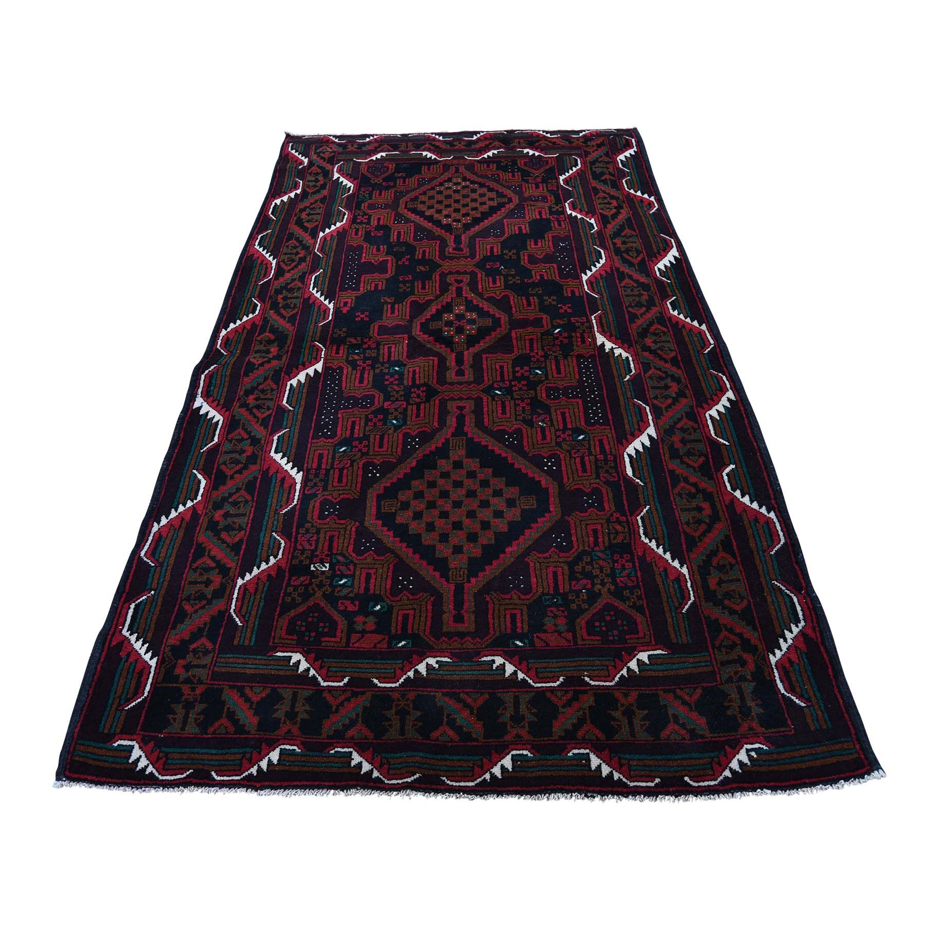 "3'10""X6'10"" Pure Wool Tribal And Geometric Afghan Baluch Hand-Knotted Oriental Rug moadb87e"