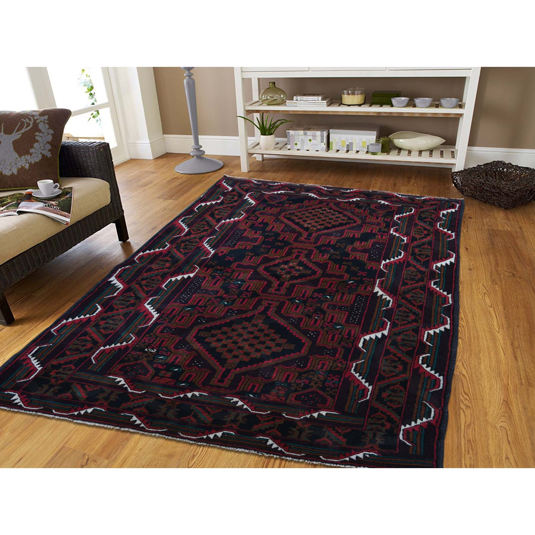 3-10 x6-10  Pure Wool Tribal and Geometric Afghan Baluch Hand-Knotted Oriental Rug