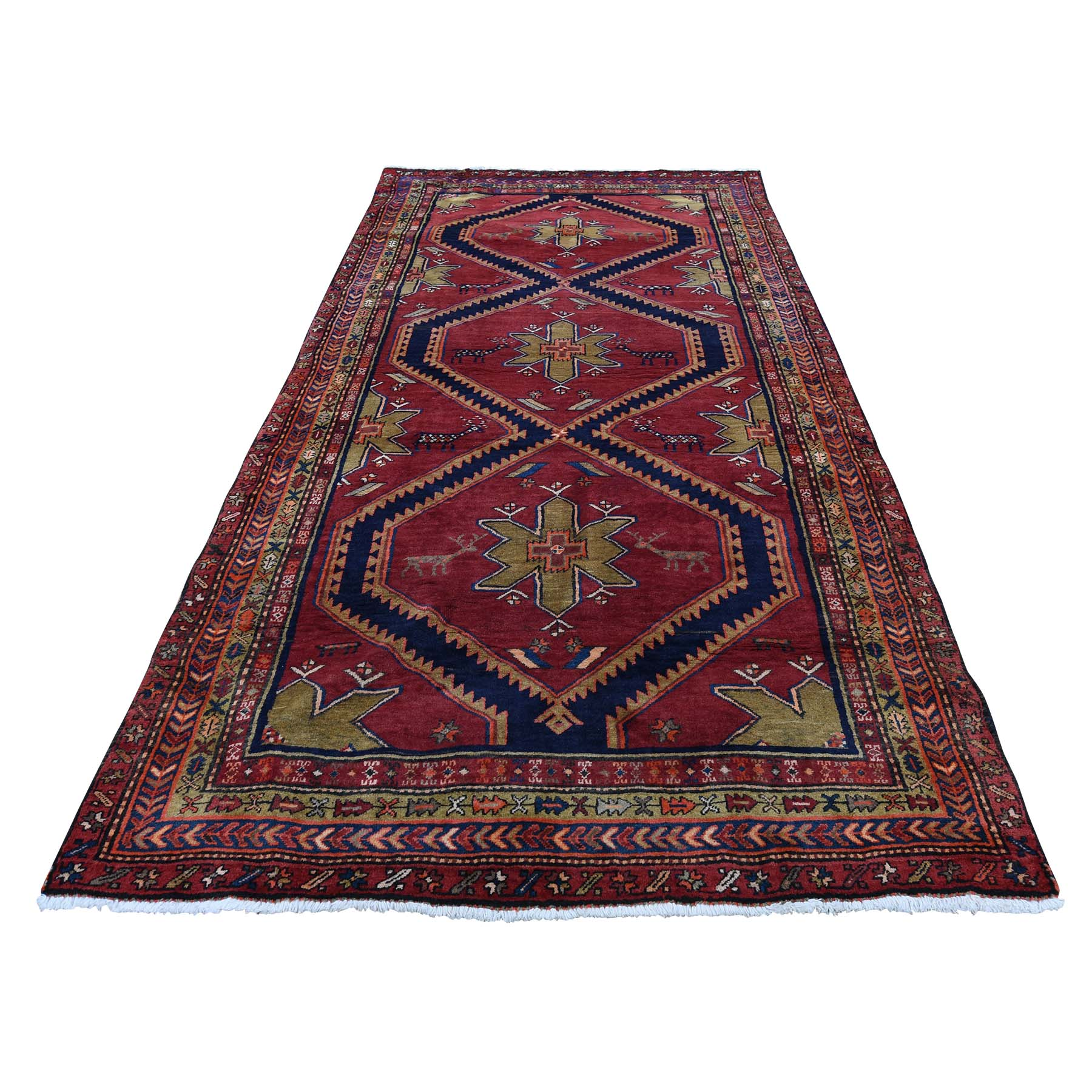 "4'5""X10' Semi Antique Persian Northeast With Deers Pure Wool Wide Runner Oriental Rug moadb908"