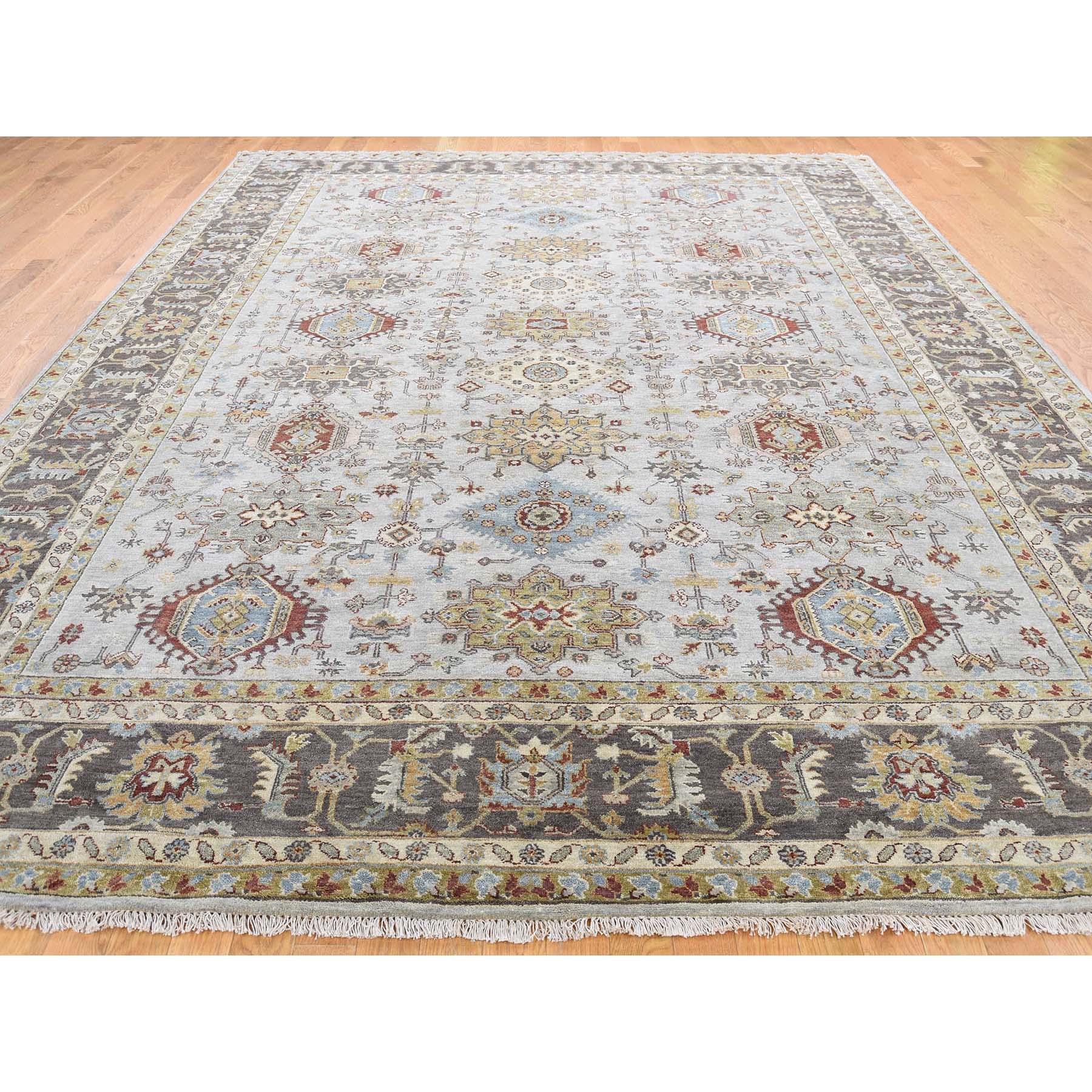 "8'10""x11'9"" Pure Wool Hand-Knotted Karajeh Design Oriental Rug"