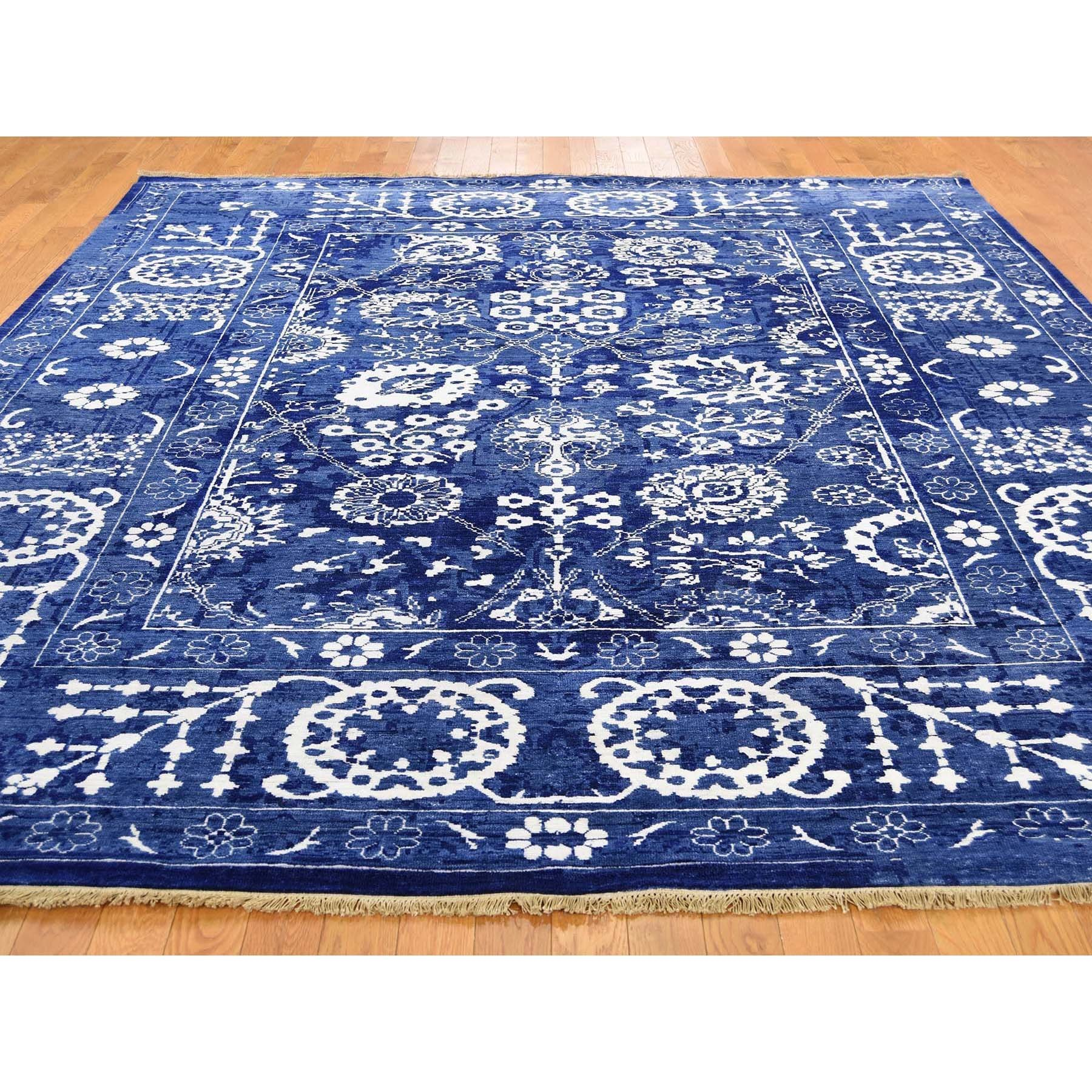 "8'x10'2"" Hand-Knotted Wool and Silk Tone on Tone Tabriz Oriental Rug"