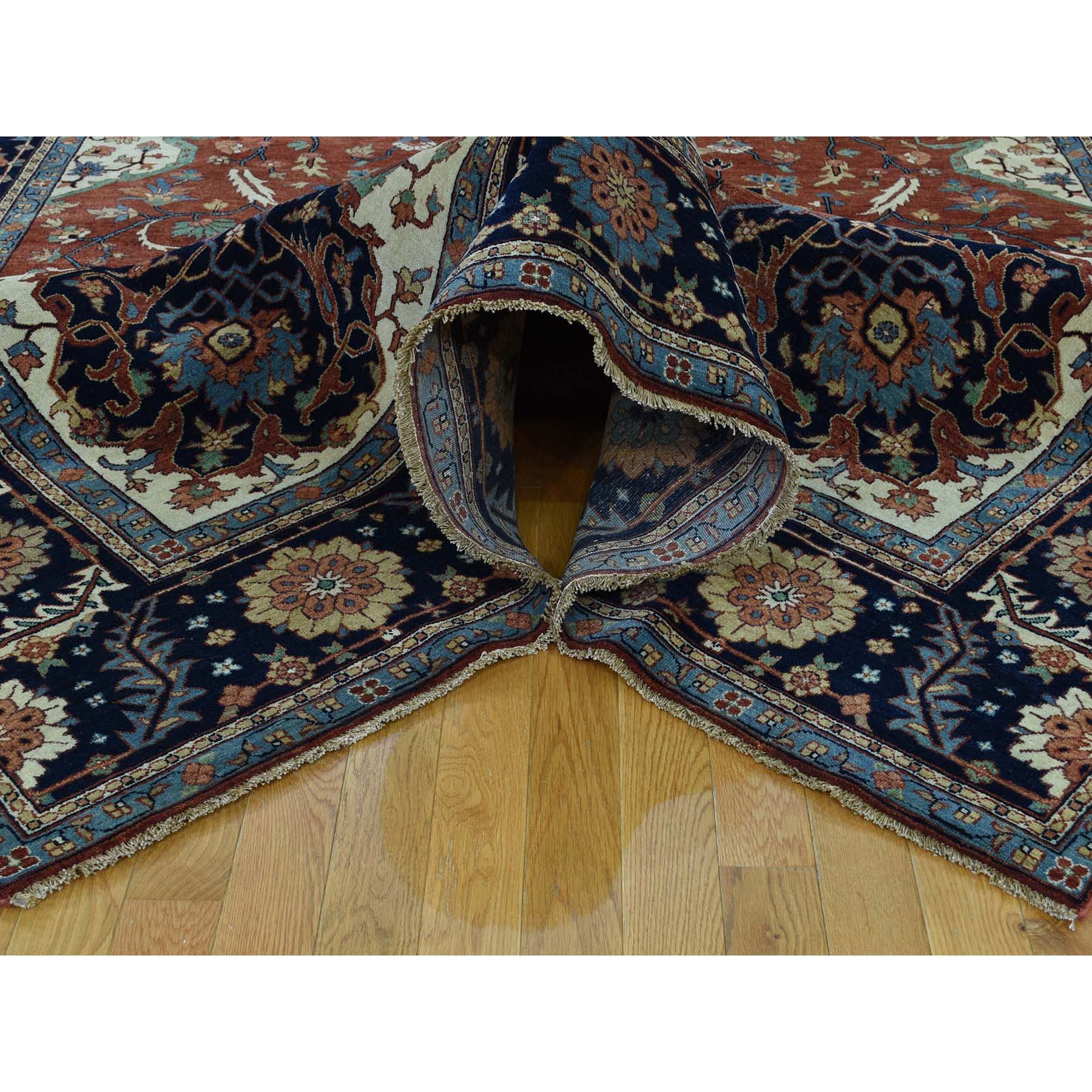 """10'x13'10"""" Antiqued Heriz Re-creation Hand-Knotted Pure Wool Oriental Rug"""