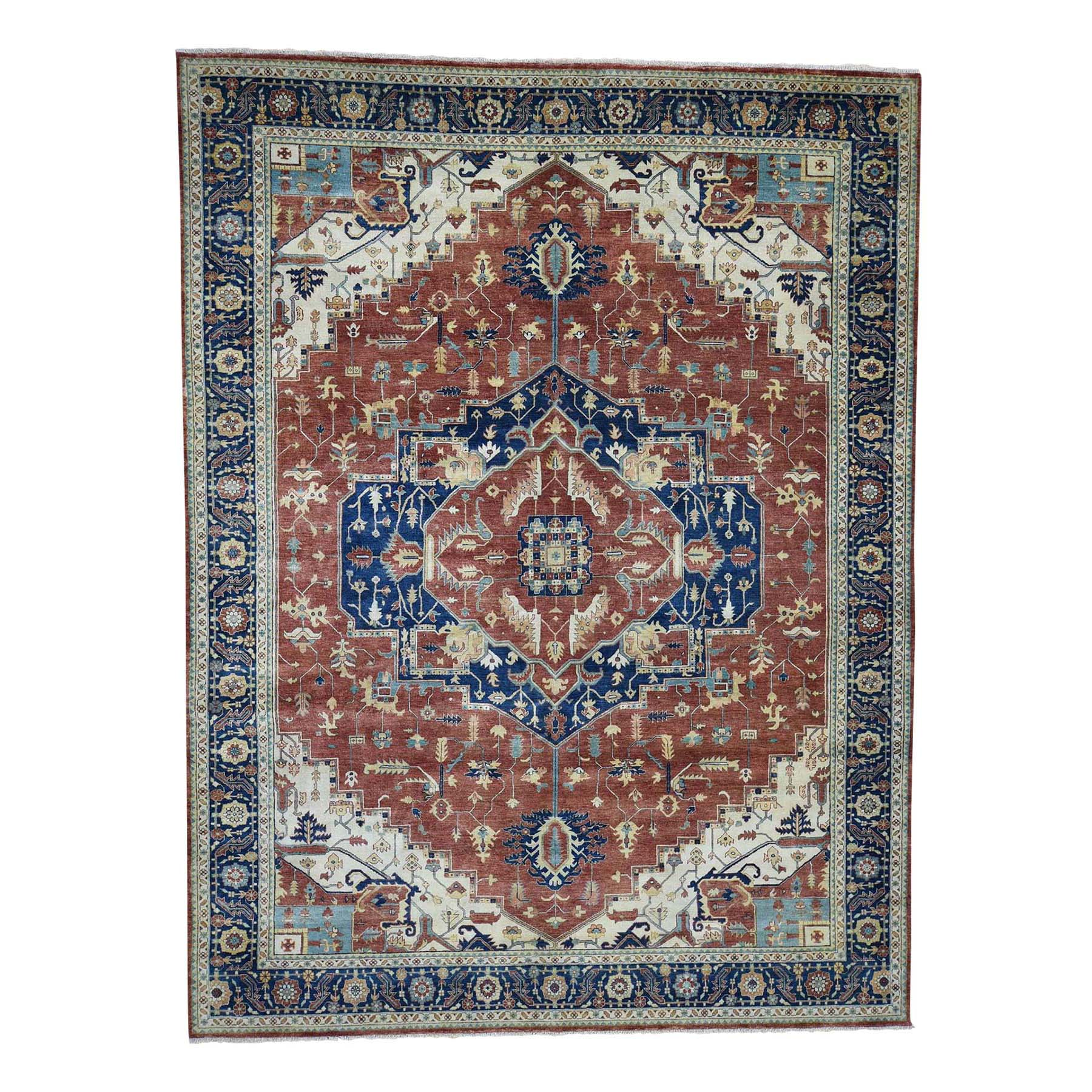 "10'1""X13'9"" Antiqued Heriz Re-Creation Pure Wool Hand Knotted Oriental Rug moadb9de"
