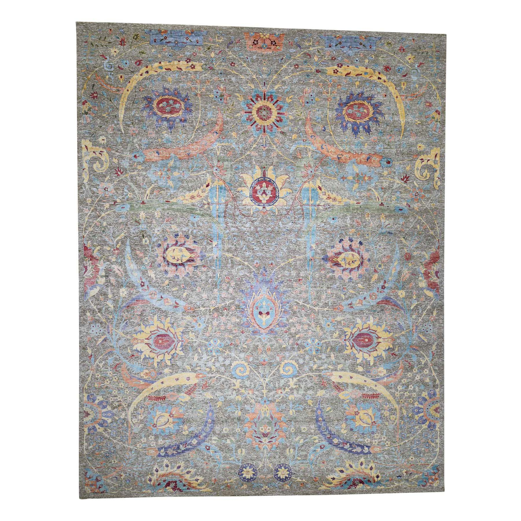 "12'1""X15'3"" Sickle Leaf Design Textured Silk With Textured Wool Hand-Knotted Oversize Oriental Rug moadb9e6"