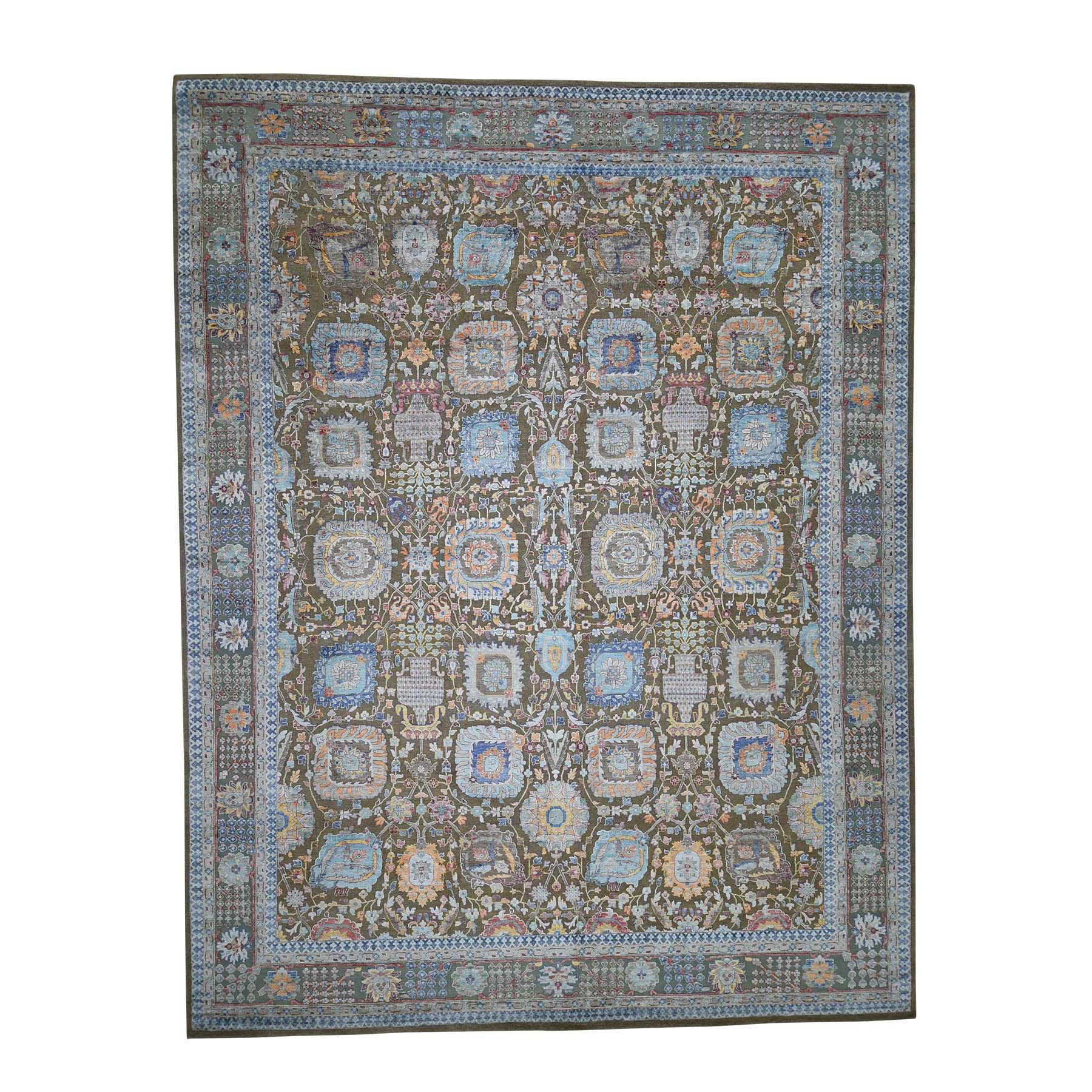 "11'9""X15'2"" Antiqued Tabriz Hi-Lo Pile Silk With Oxidized Wool Oversize Oriental Rug moadb9e7"