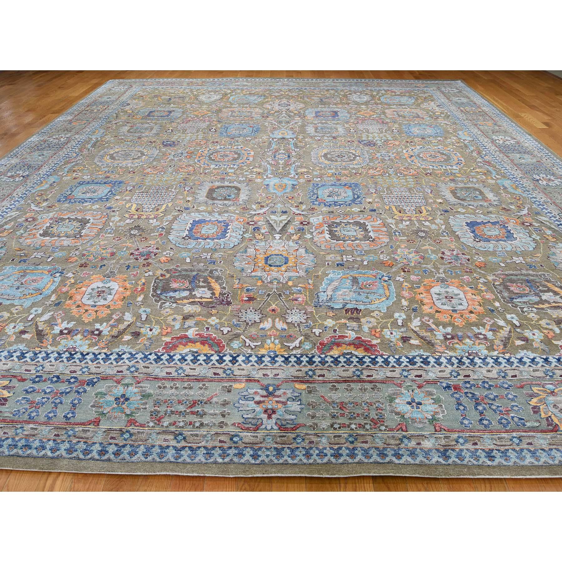 11-9 x15-2  Antiqued Tabriz Hi-Lo Pile Silk With Oxidized Wool Oversize Oriental Rug