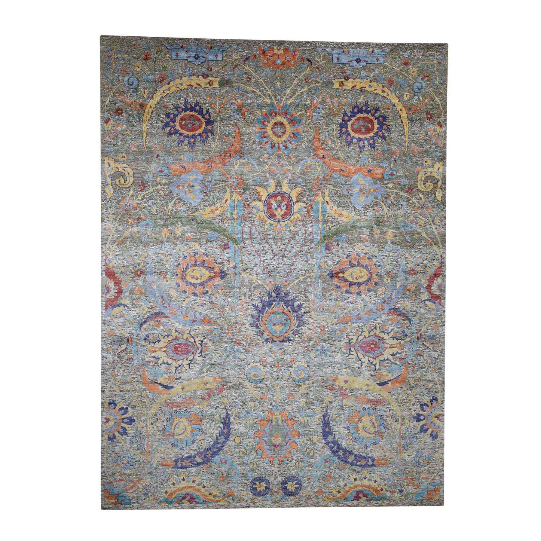 """10'x14'2"""" Sickle Leaf Design Silk With Textured Wool Hand-Knotted Oriental Rug"""