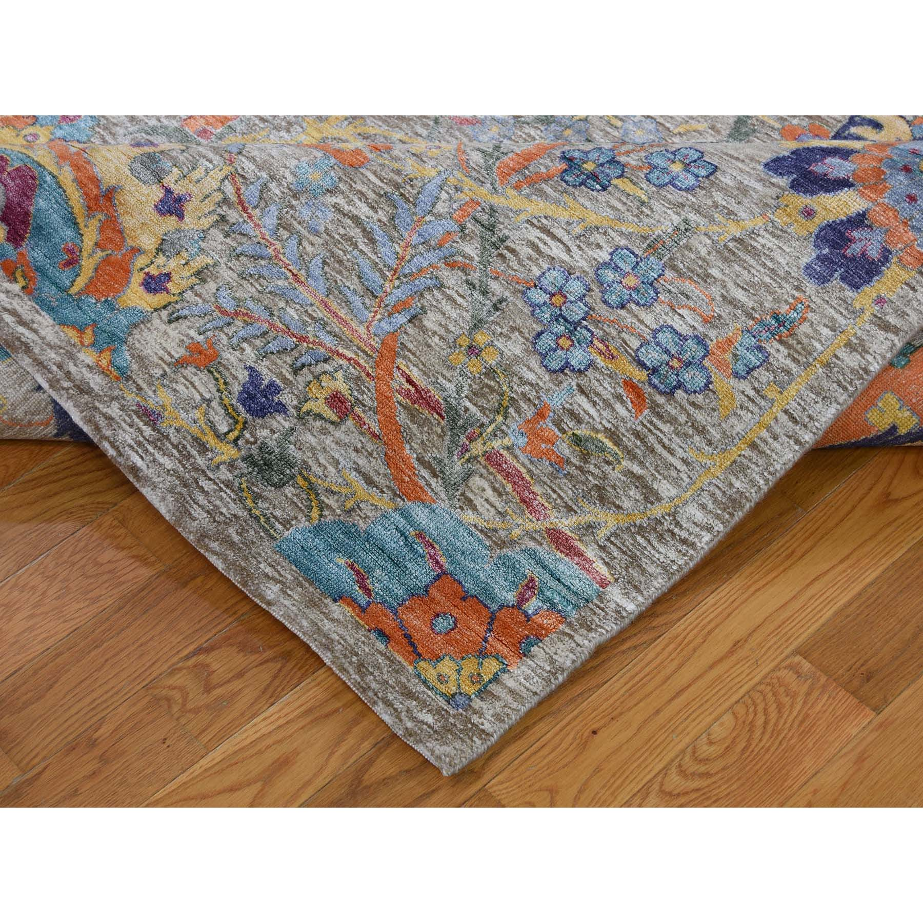 10-x14-2  Sickle Leaf Design Silk With Oxidized Wool Hand-Knotted Oriental Rug