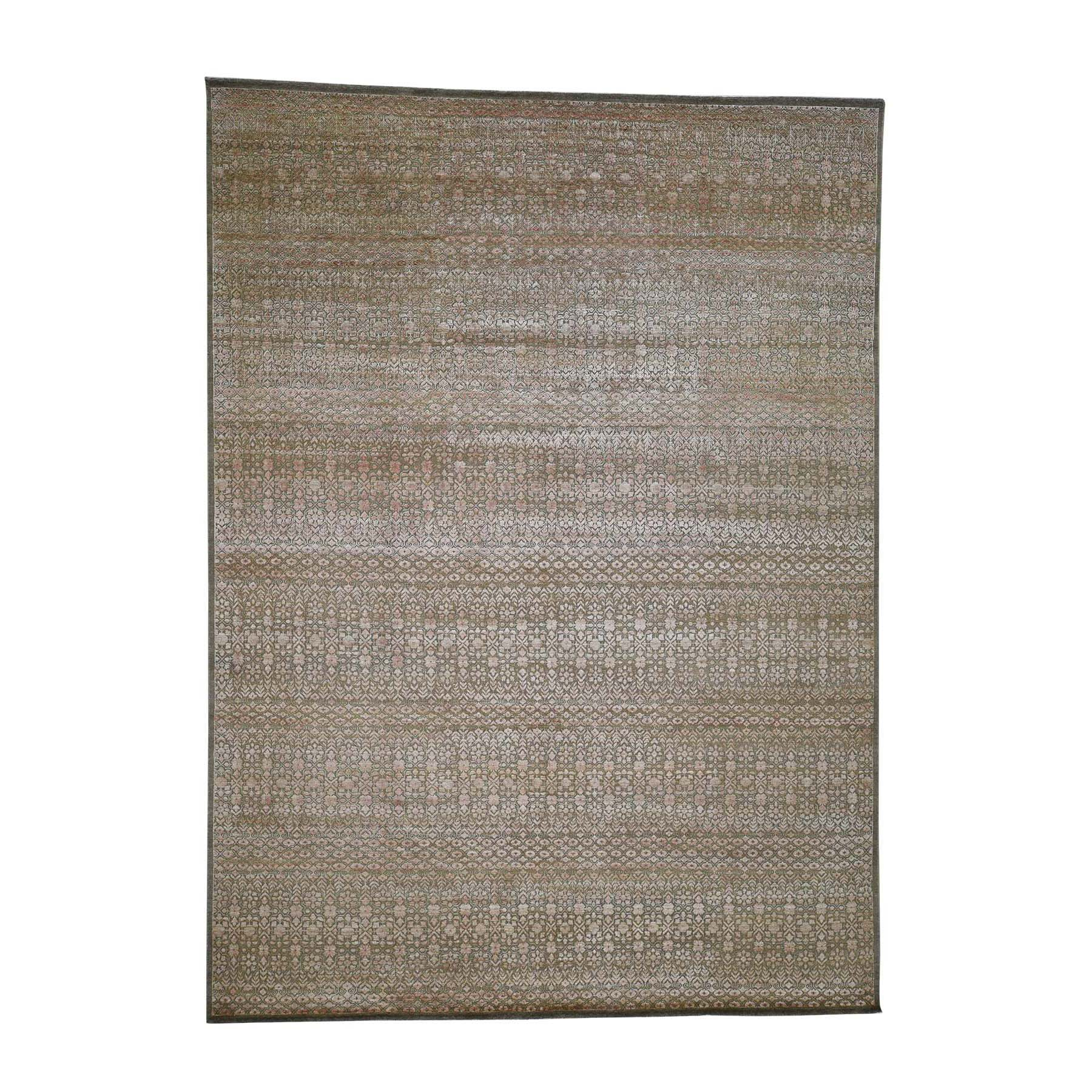 "9'X12'2"" Art Silk With Oxidized Wool Gabbeh Design Hand-Knotted Oriental Rug moadb96e"