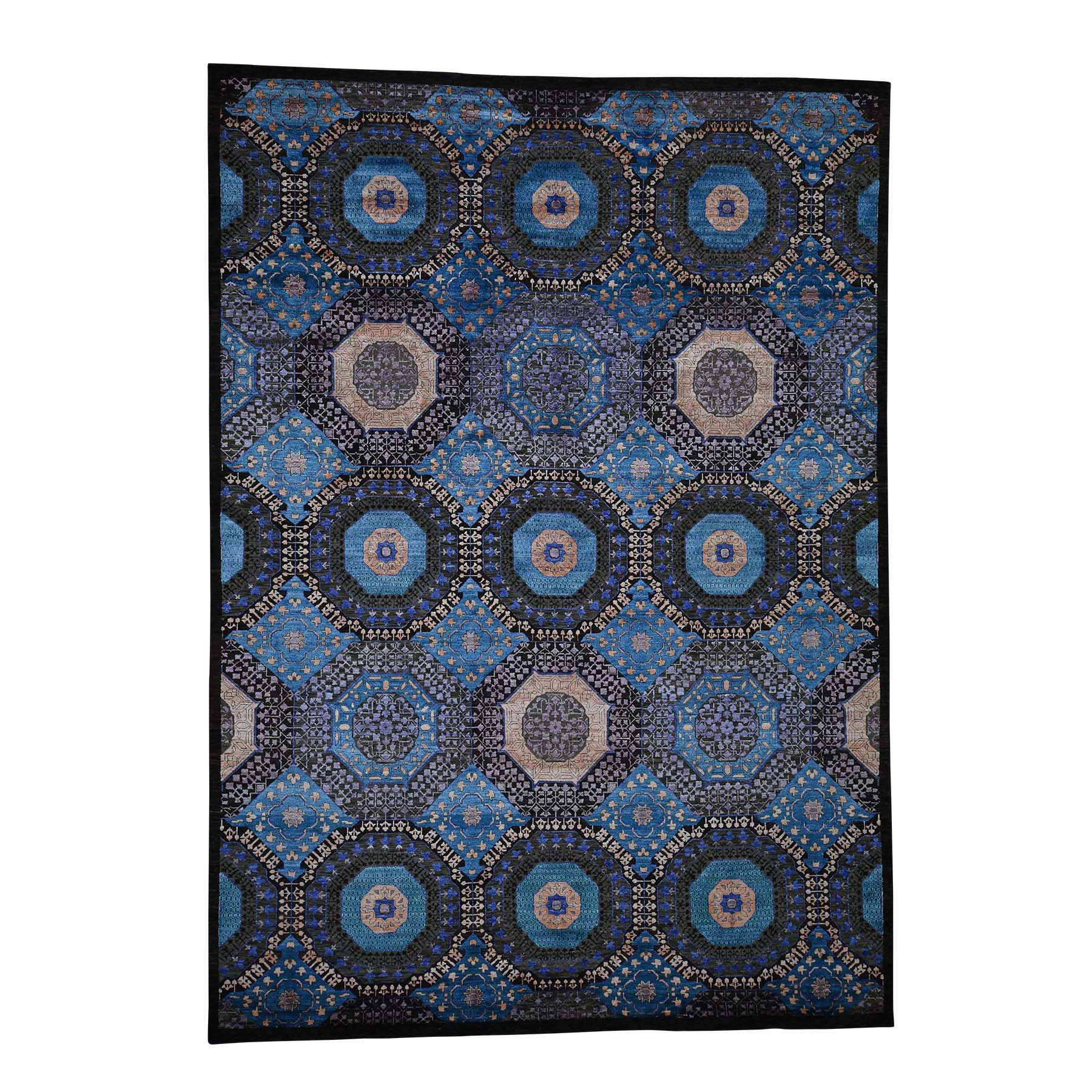 "8'3""X11'5"" Art Silk With Textured Wool Mamluk Design Hand-Knotted Oriental Rug moadb97a"
